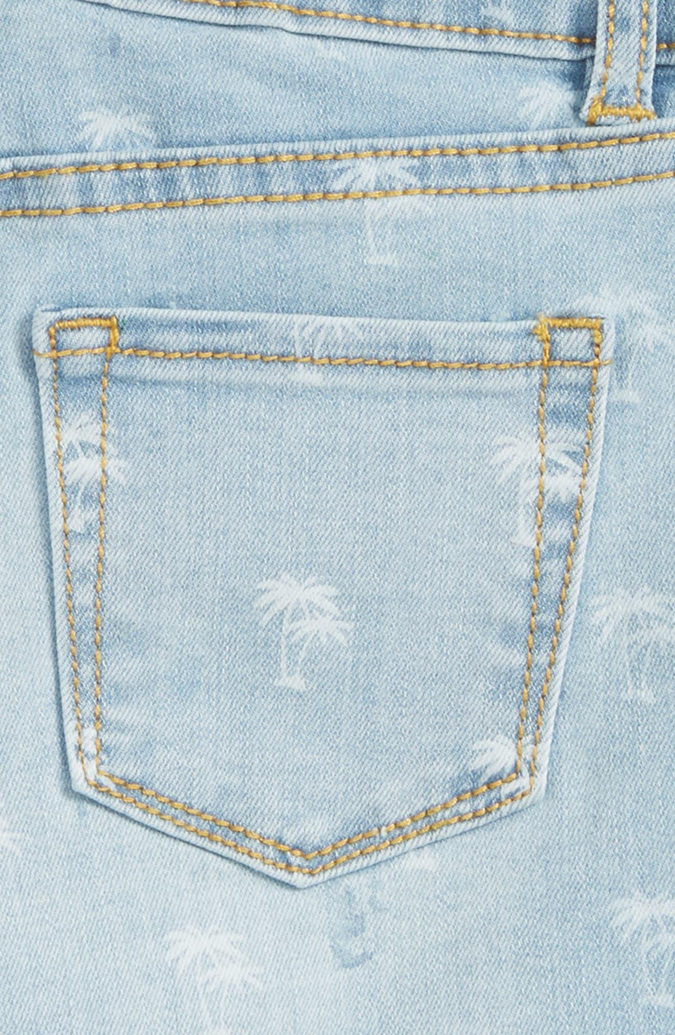 Griffin Palm Tree Denim Shorts,                             Alternate thumbnail 3, color,                             451