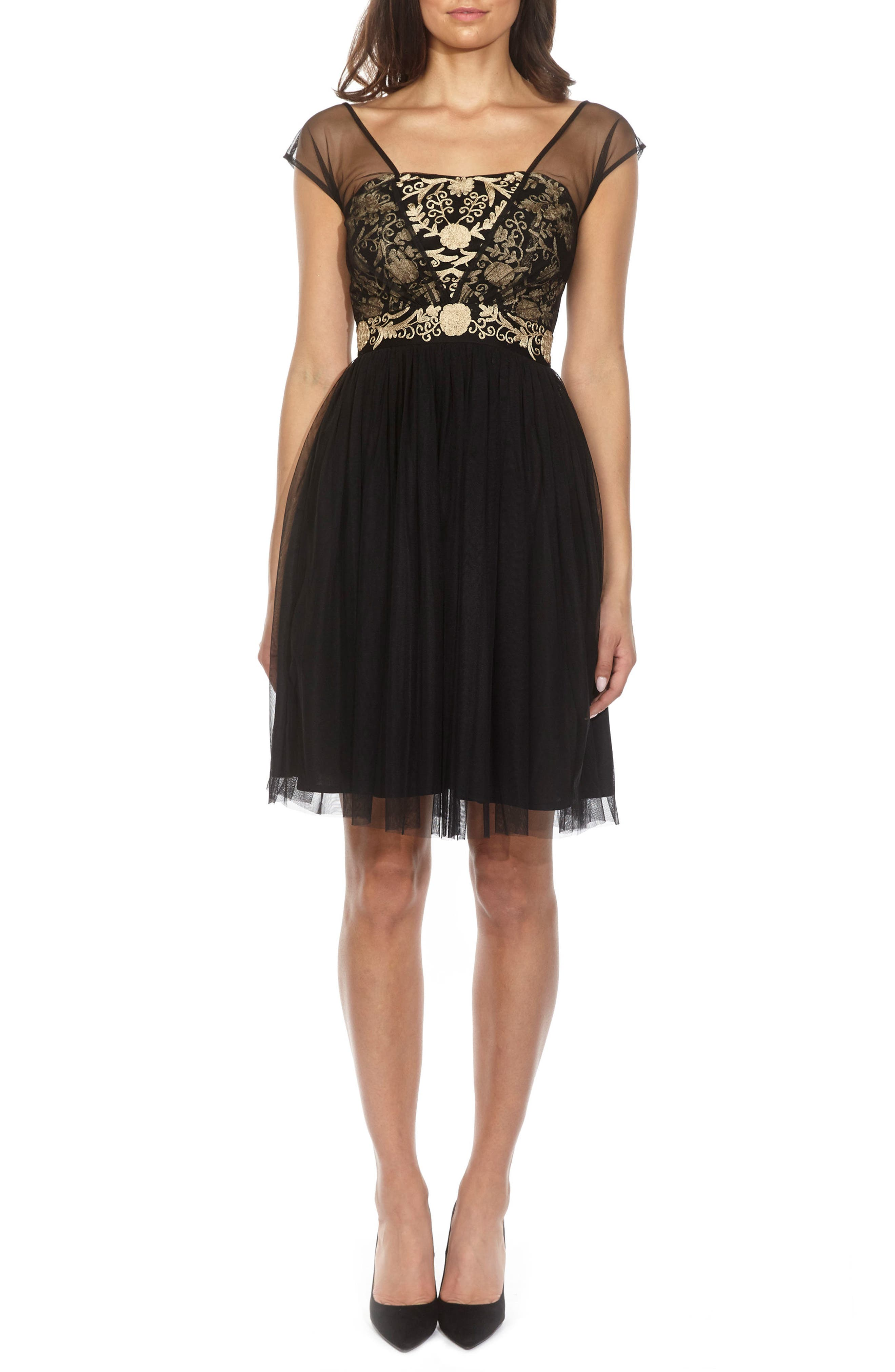 Lace & Beads Embroidered Mesh Skater Dress