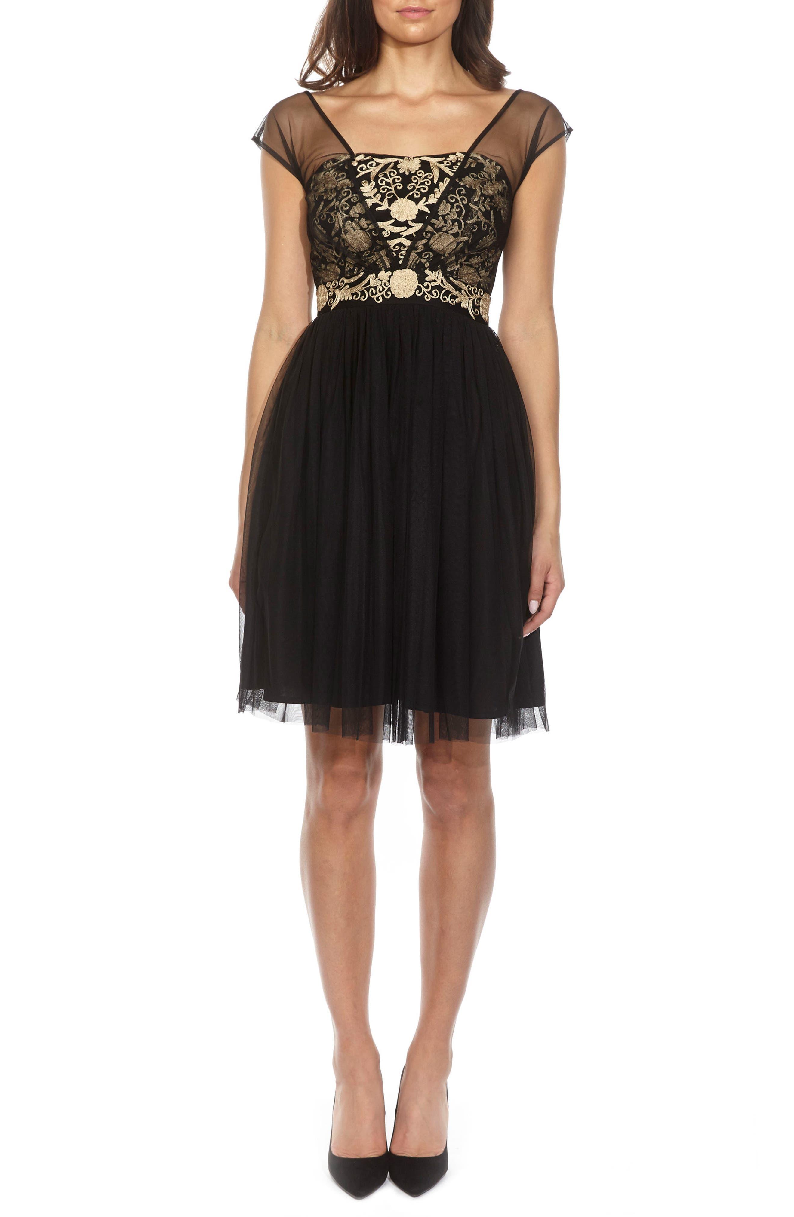Embroidered Mesh Skater Dress,                         Main,                         color, BLACK
