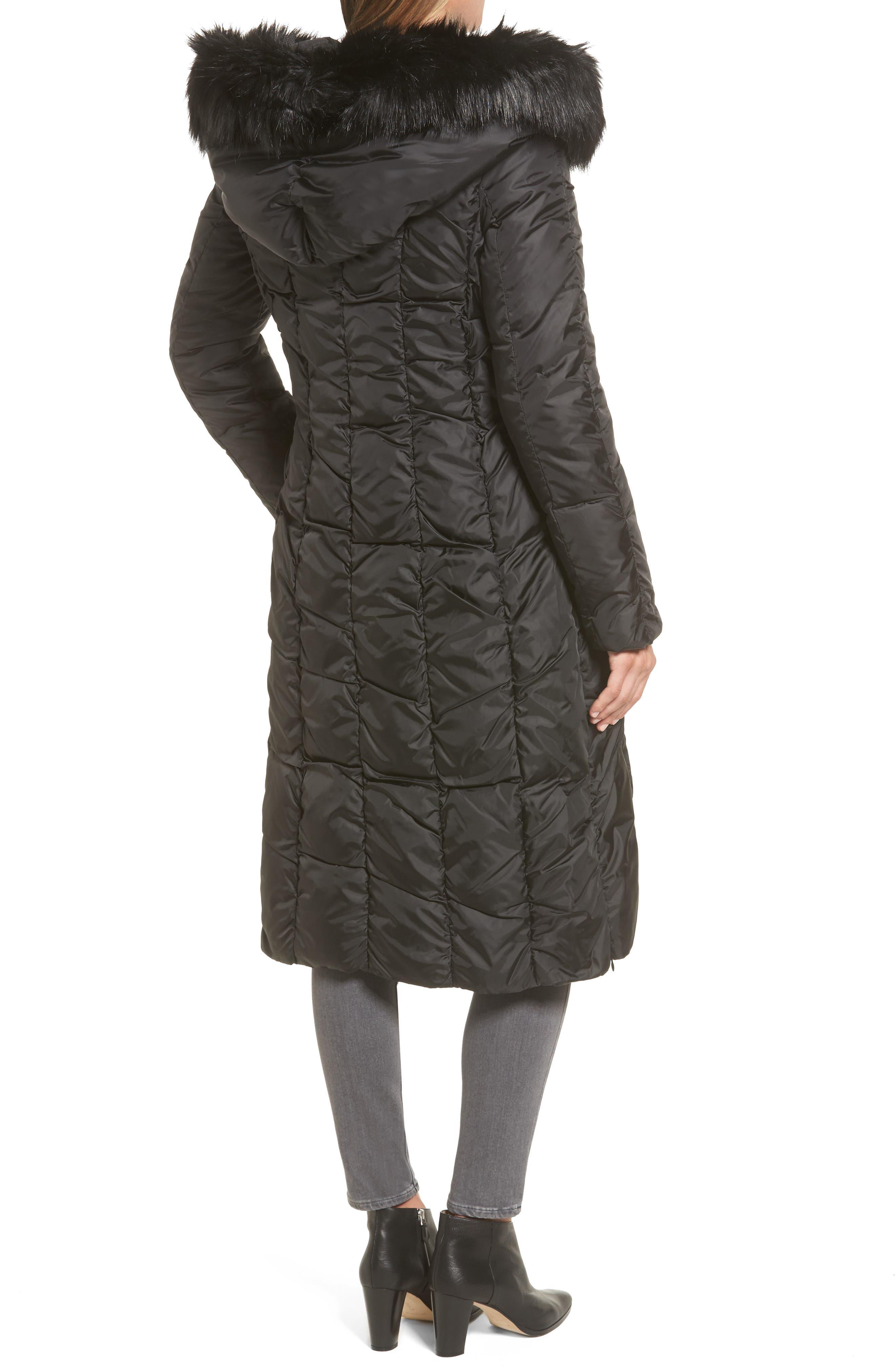 Long Faux Fur Trim Coat,                             Alternate thumbnail 2, color,                             001