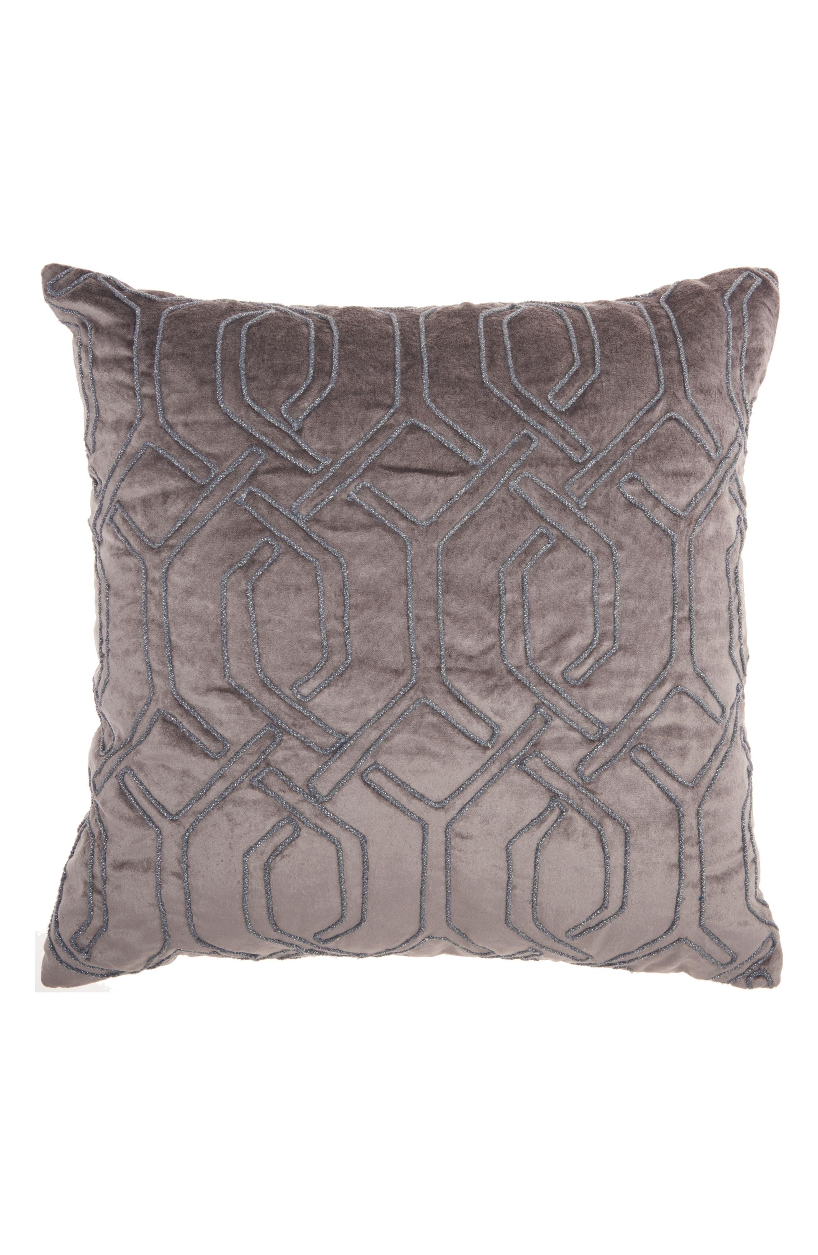 Velvet Gate Accent Pillow,                         Main,                         color, DARK GREY