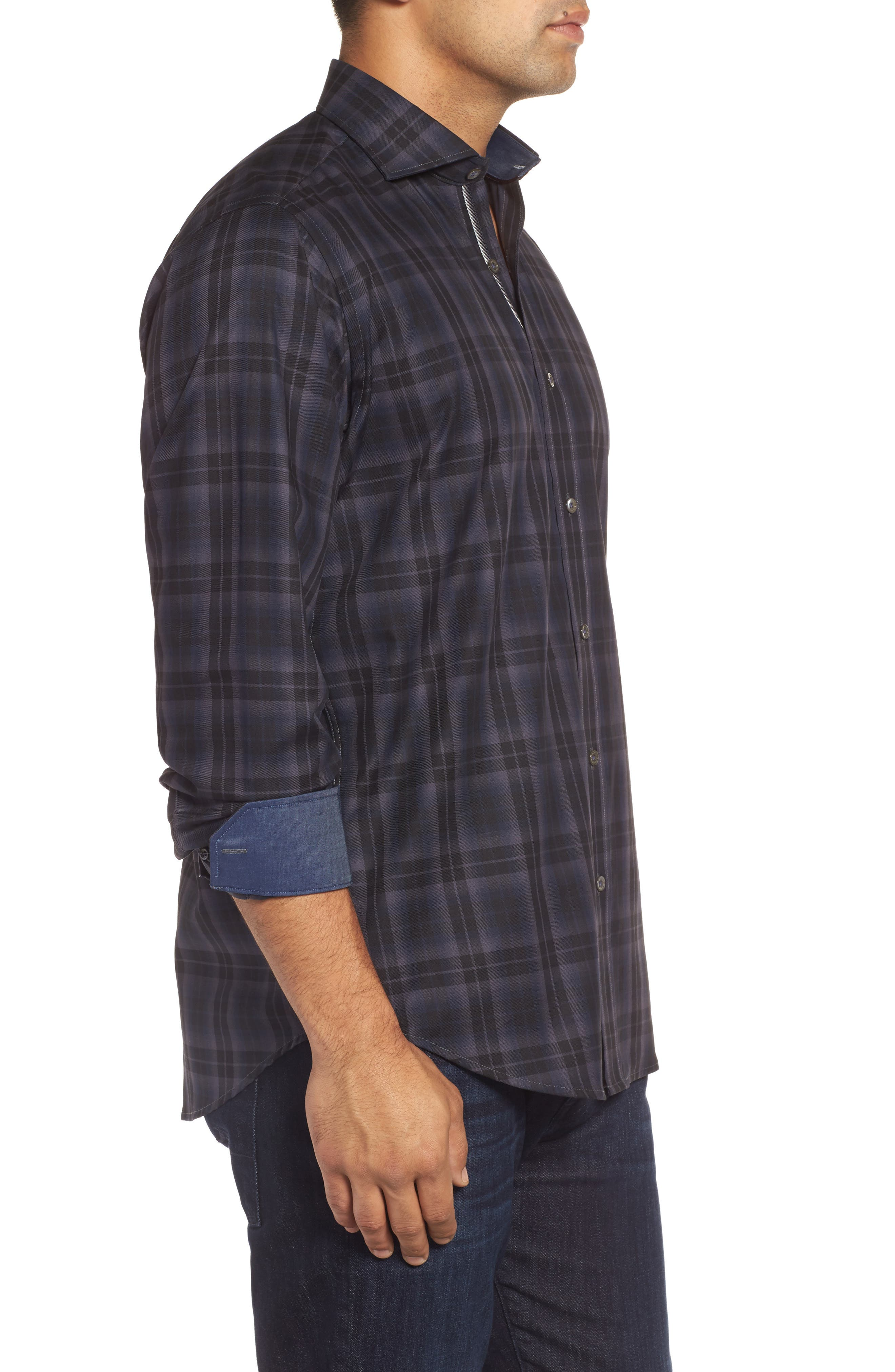 Classic Fit Large Check Twill Sport Shirt,                             Alternate thumbnail 3, color,                             020