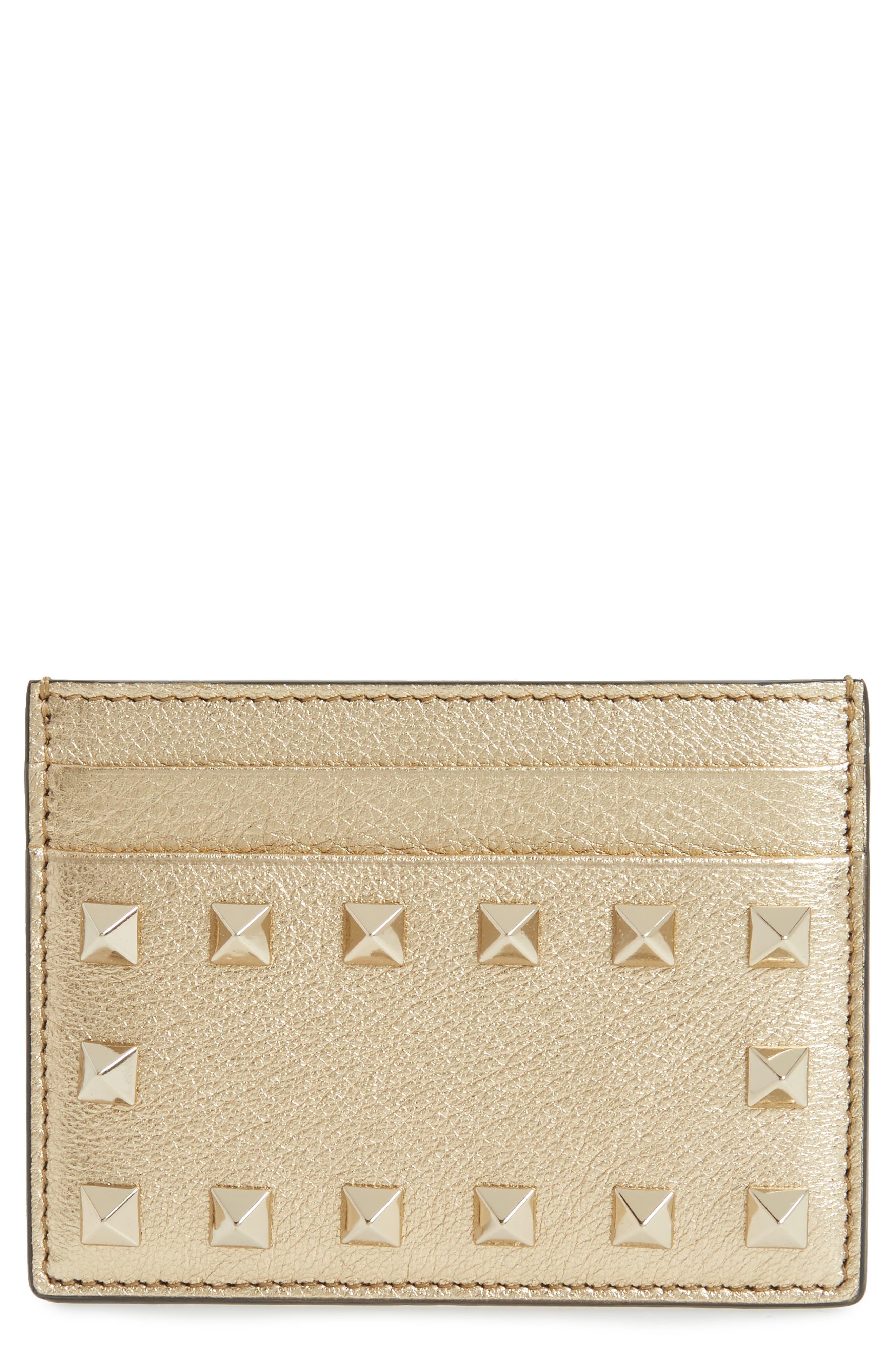 Rockstud Leather Card Case,                         Main,                         color, 710