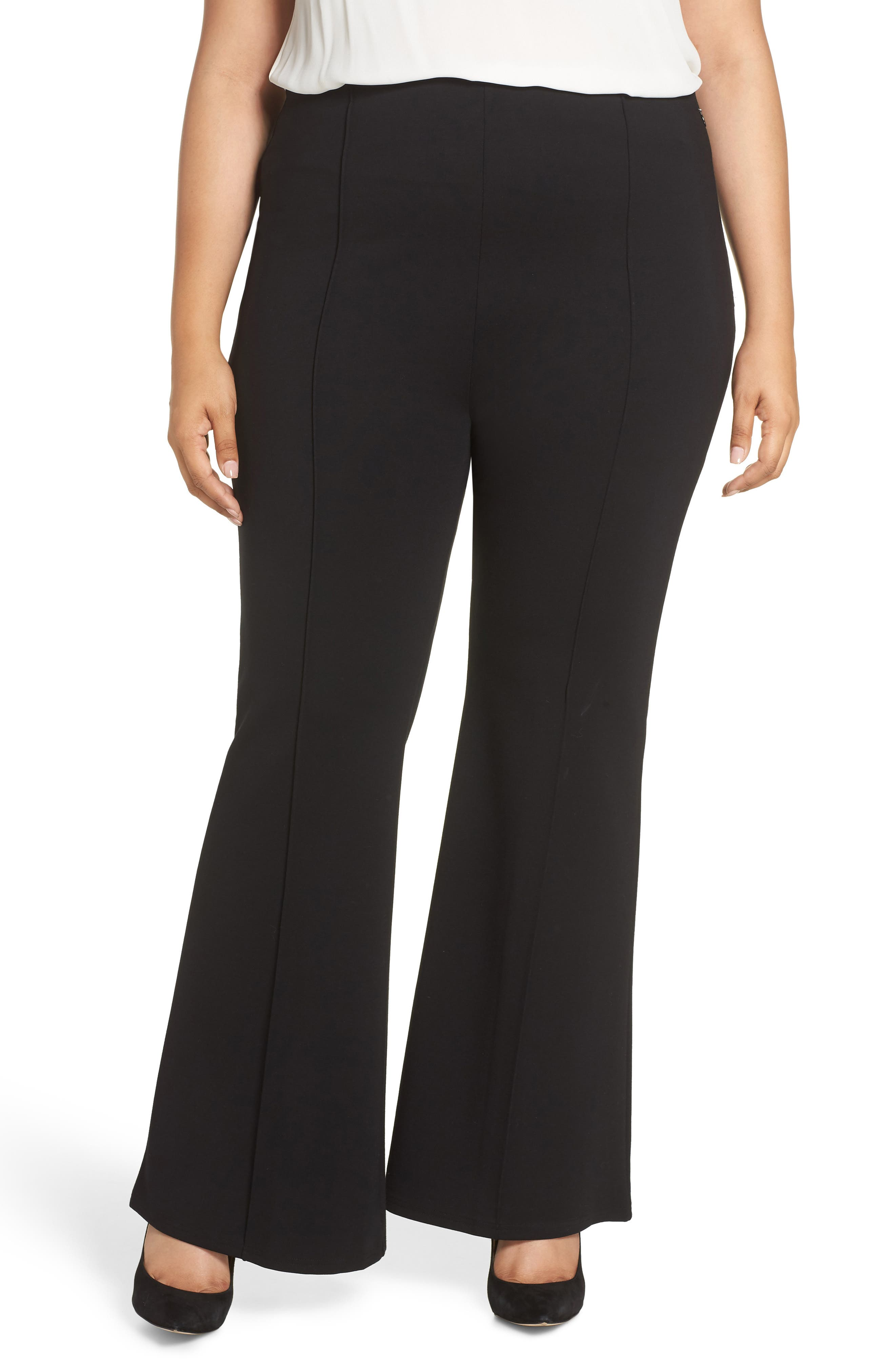 Plus Size Leith High Waist Flare Leg Pants, Black