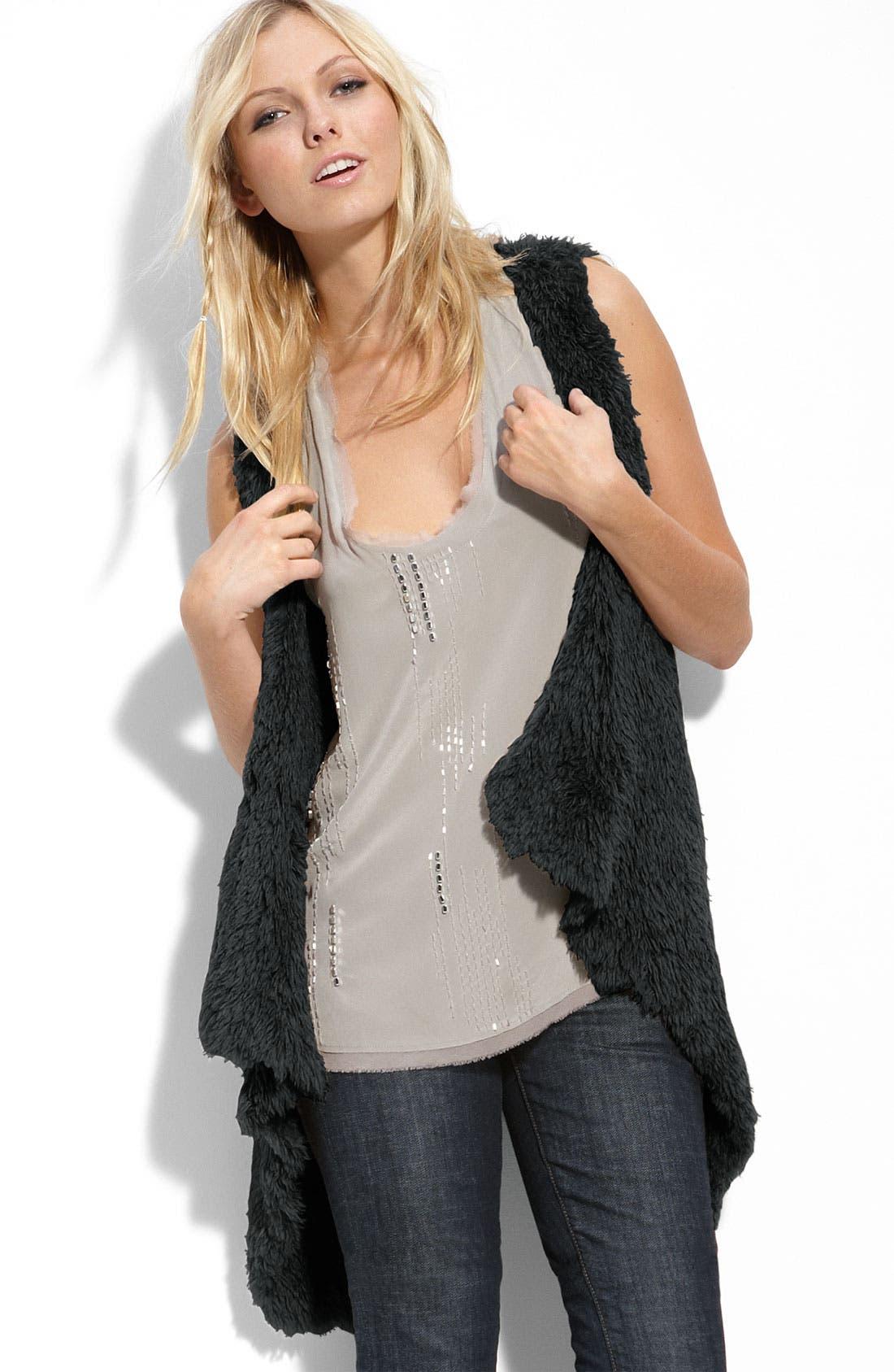 KENSIE 'Shaggy' Faux Fur Vest, Main, color, 001