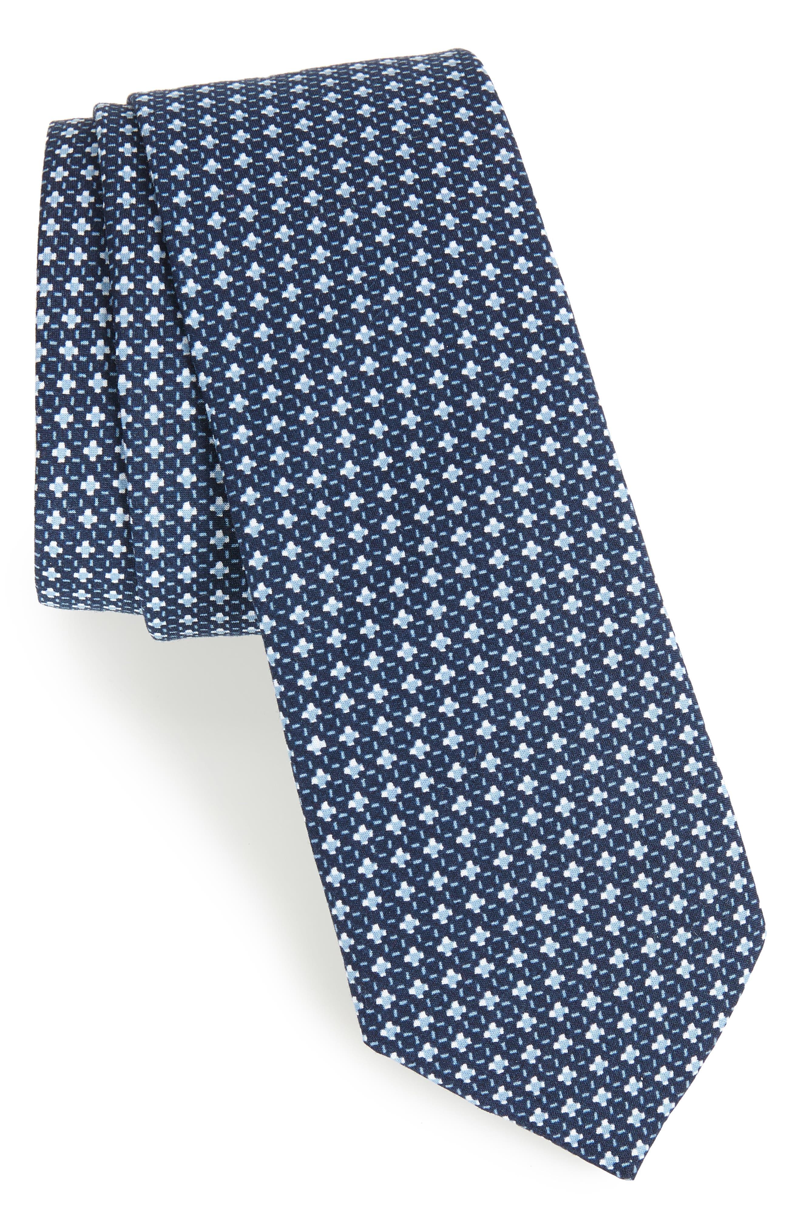 Olympos Geometric Cotton Tie,                         Main,                         color, 001