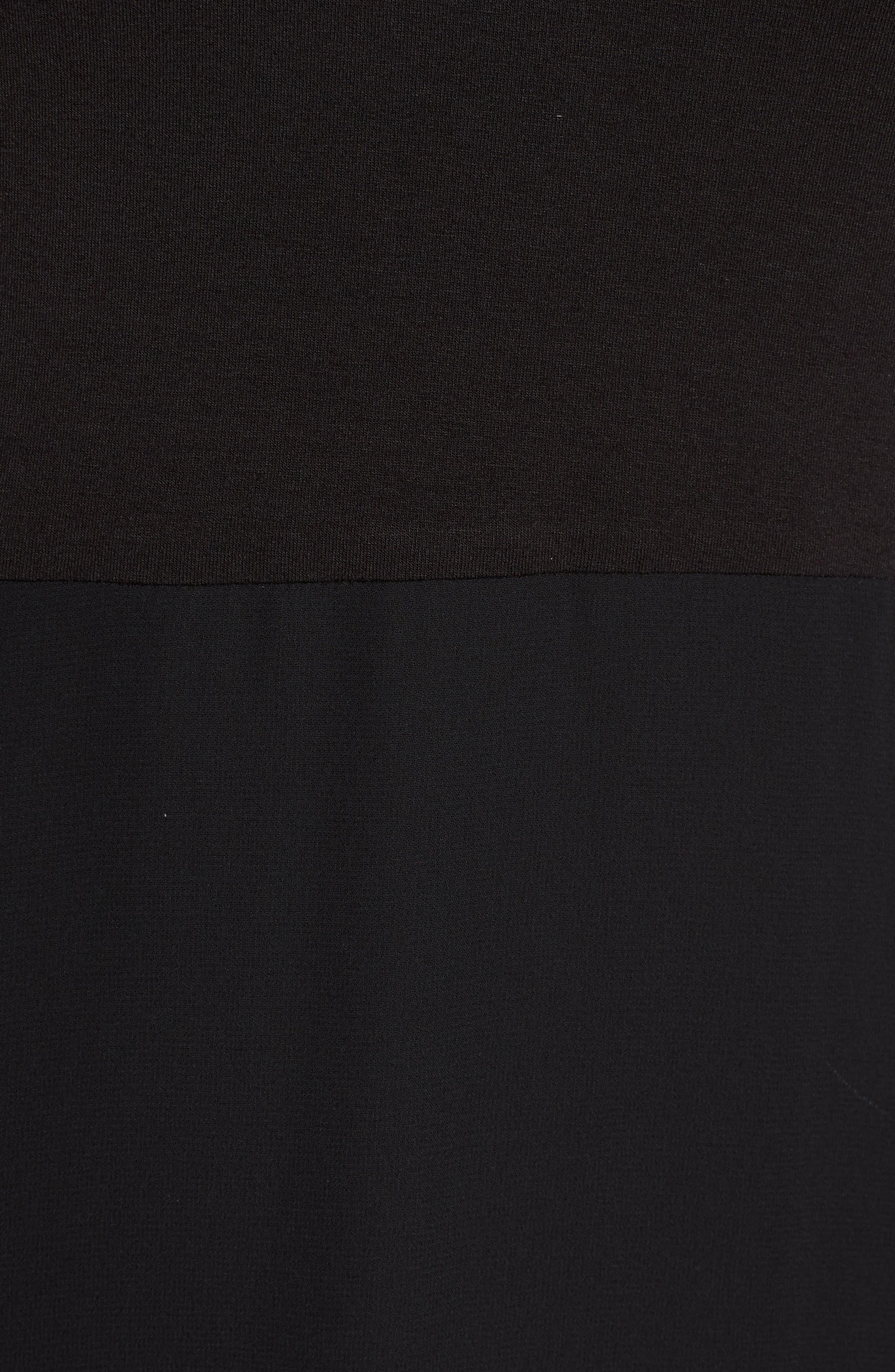 Chiffon Overlay Maxi Dress,                             Alternate thumbnail 6, color,                             RICH BLACK