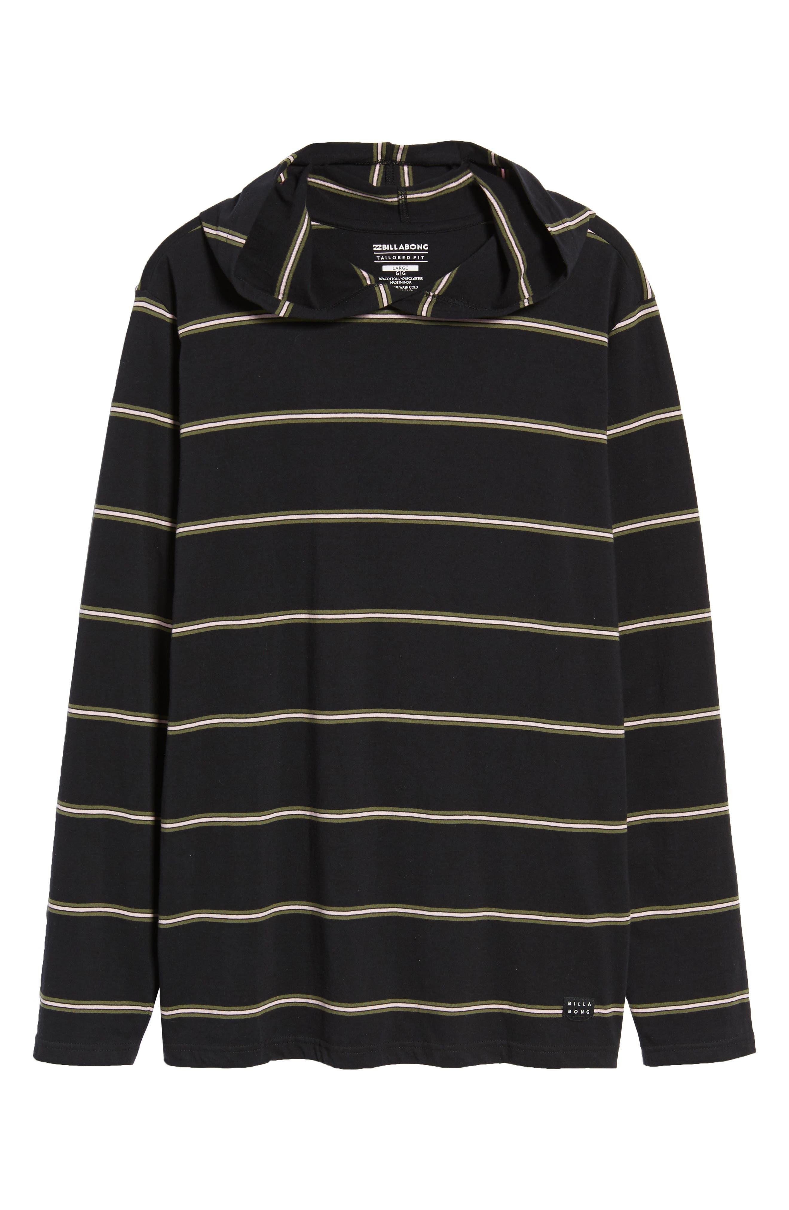 Die Cut Hooded Long Sleeve T-Shirt,                             Alternate thumbnail 6, color,                             001