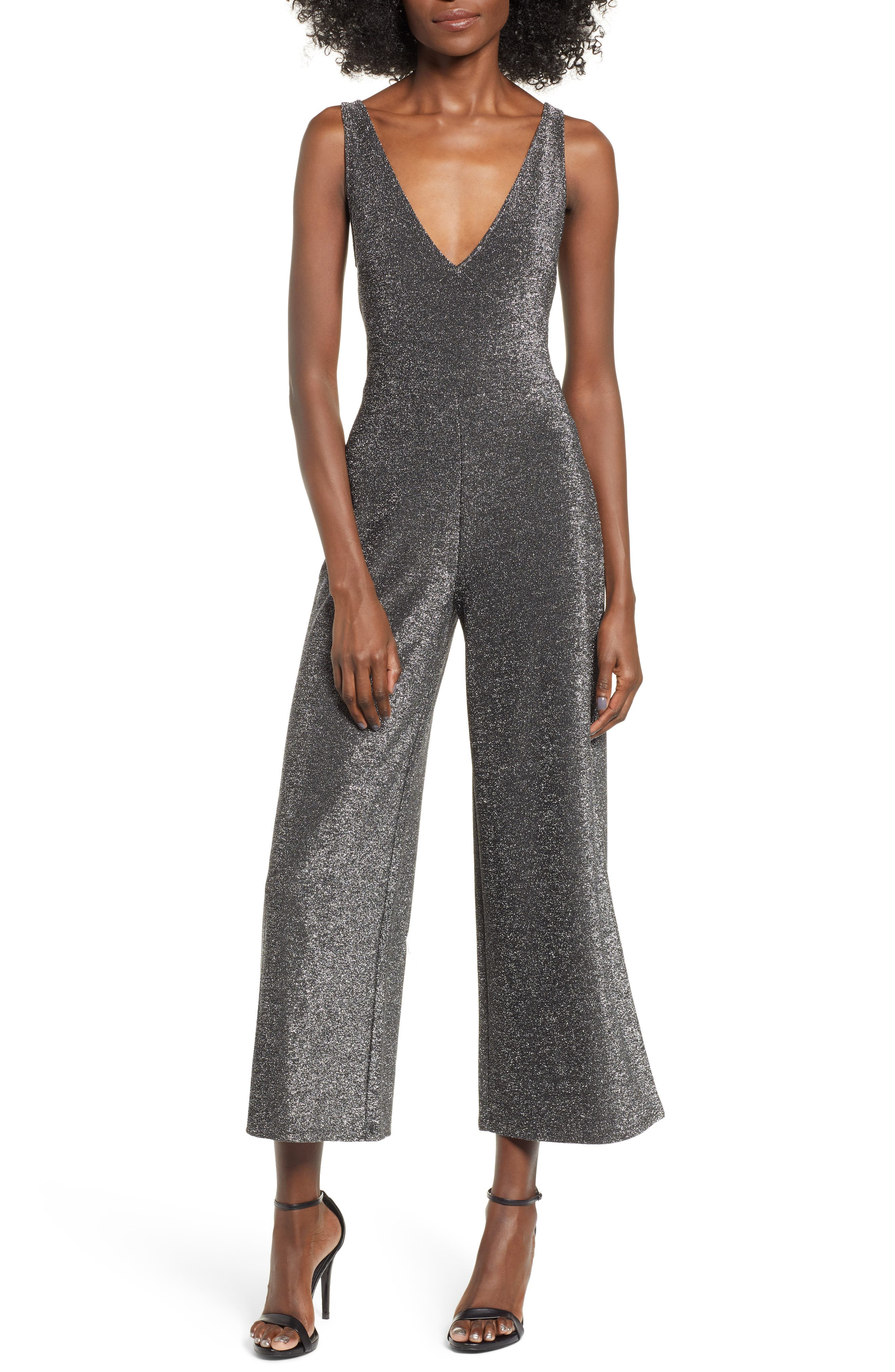 Night Out Metallic Jumpsuit,                         Main,                         color, SILVER METALLIC