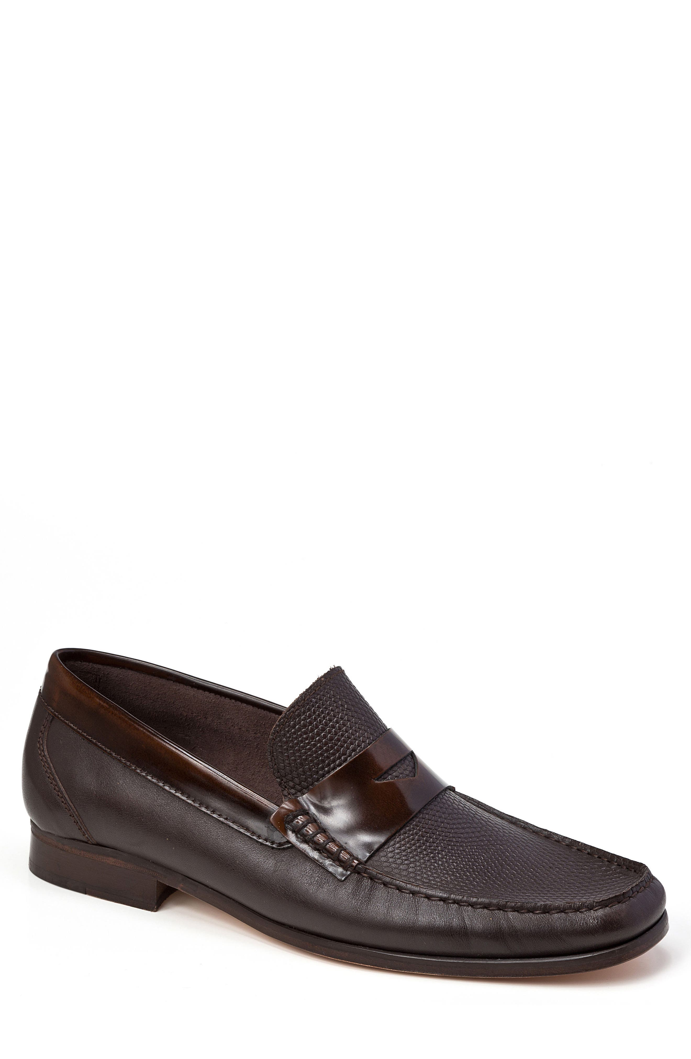 SANDRO MOSCOLONI,                             Bilbao Pebble Embossed Penny Loafer,                             Main thumbnail 1, color,                             BROWN