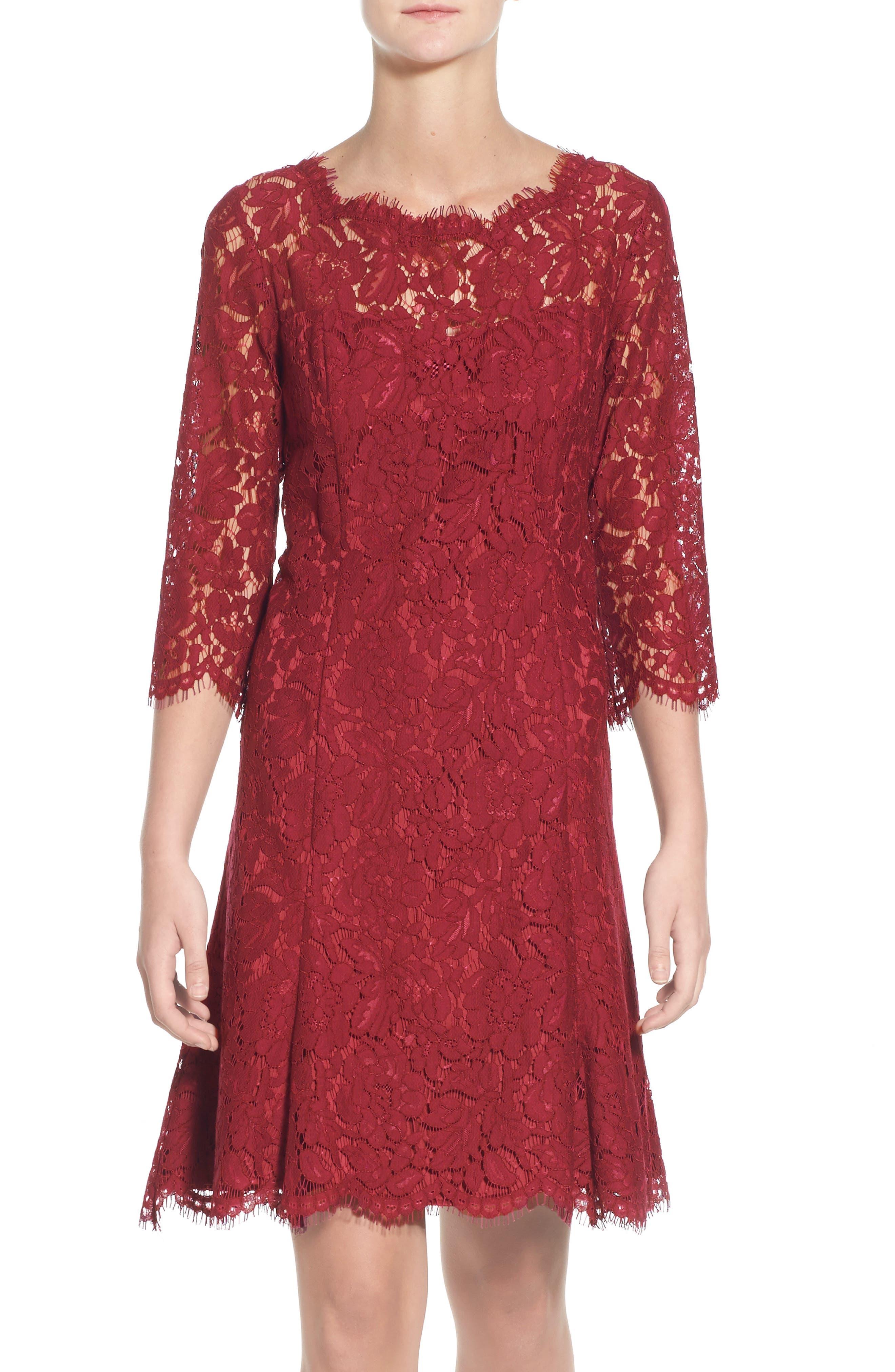 Eliza J Lace Fit & Flare Cocktail Dress, Burgundy
