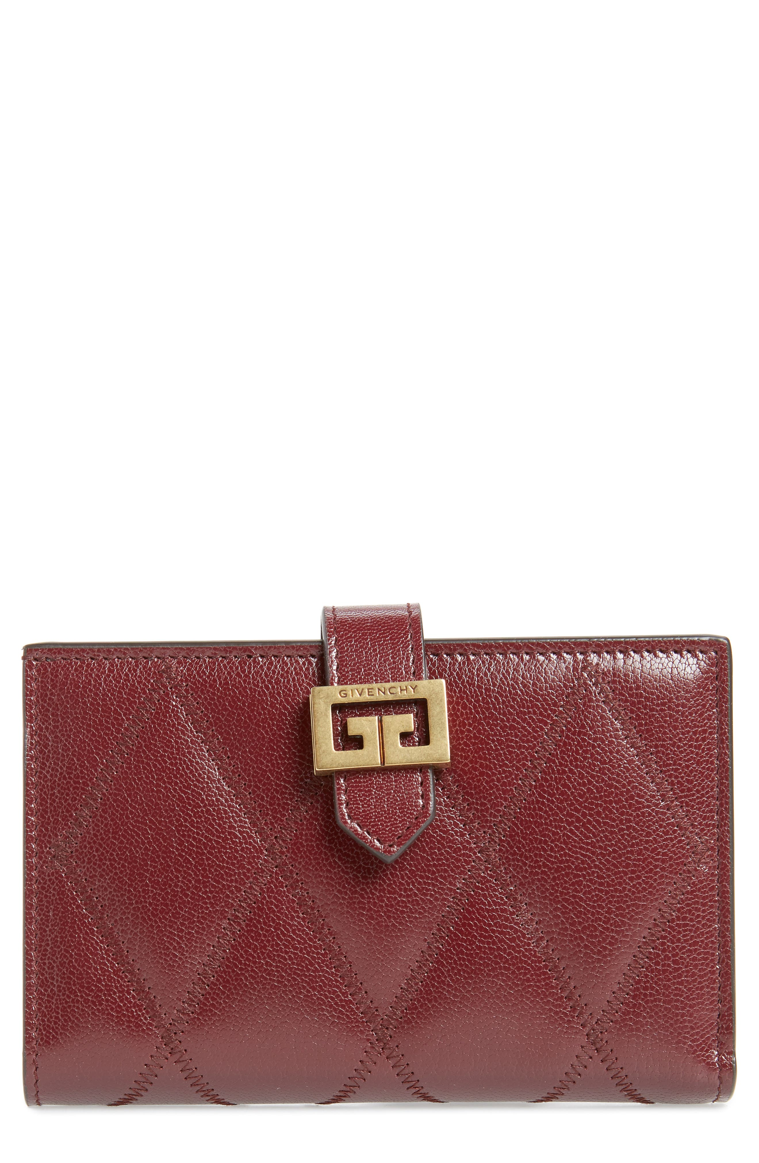 Medium GV3 Diamond Quilted Leather Wallet,                             Main thumbnail 1, color,                             AUBERGINE