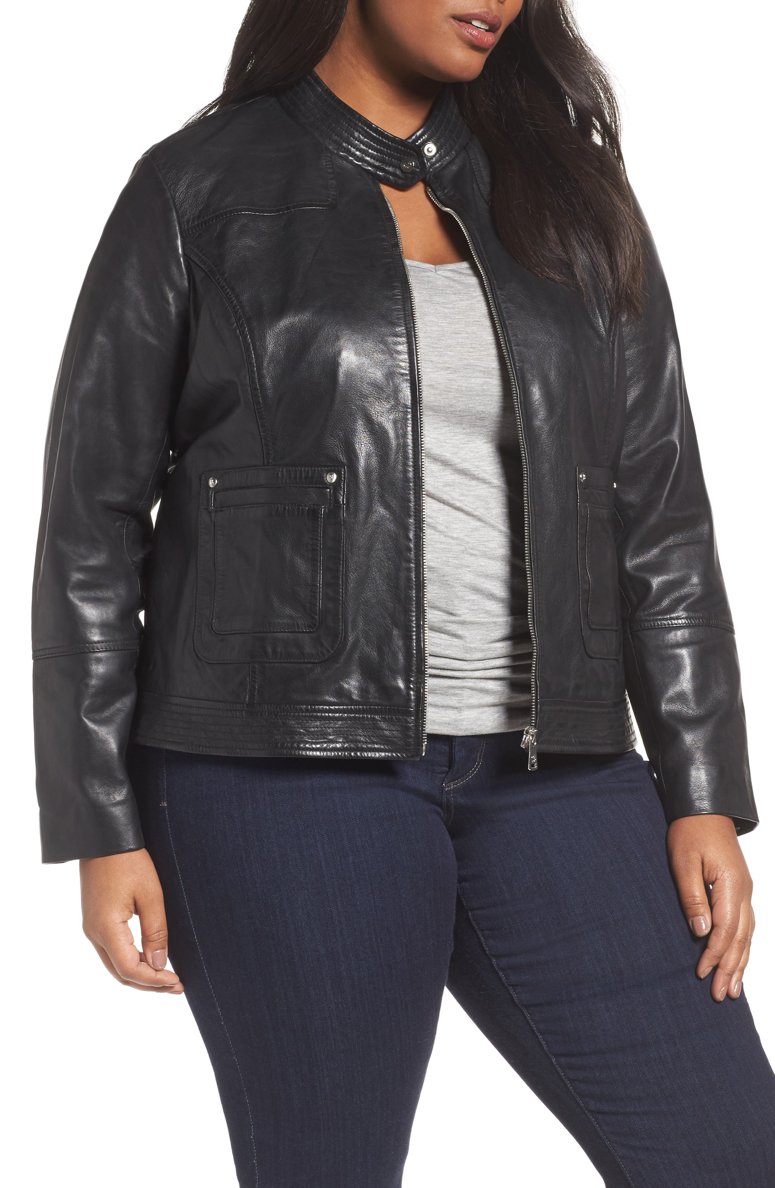 Kirwin Sheepskin Leather Jacket,                             Main thumbnail 1, color,                             001