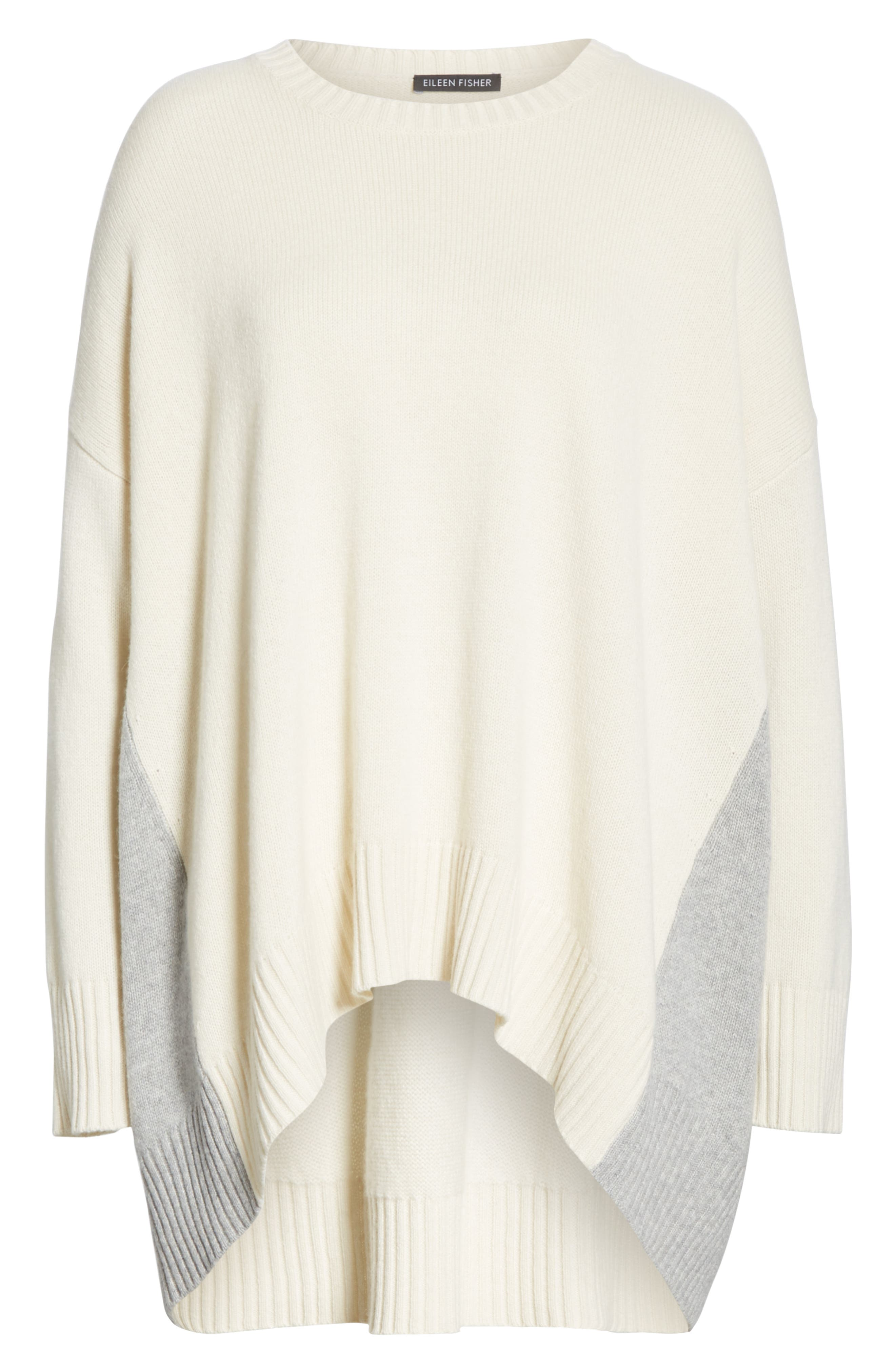 Oversize Cashmere & Wool Sweater,                             Alternate thumbnail 6, color,                             SOFT WHITE/ DARK PEARL
