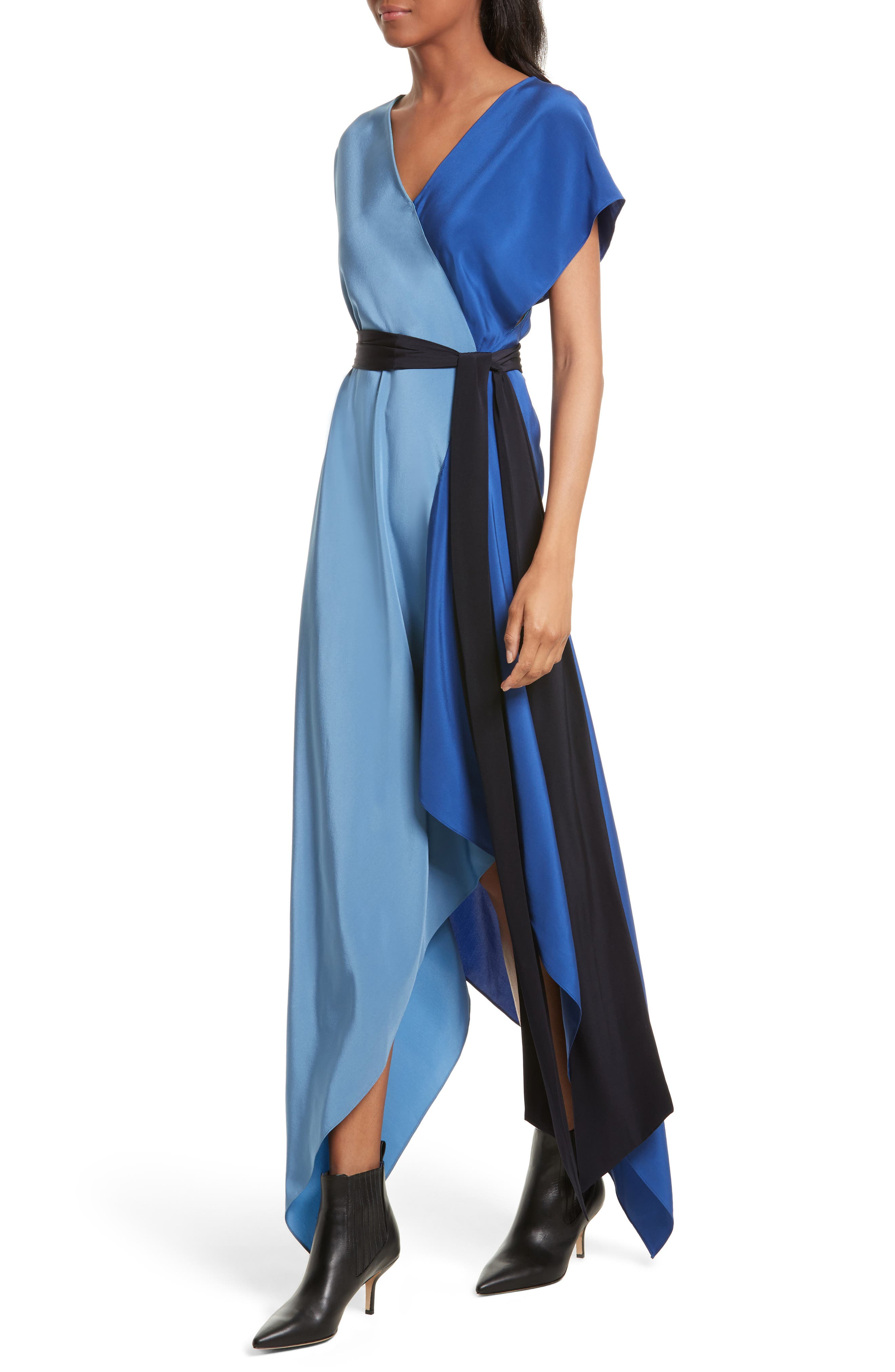 Handkerchief Hem Silk Scarf Dress,                             Alternate thumbnail 4, color,                             400