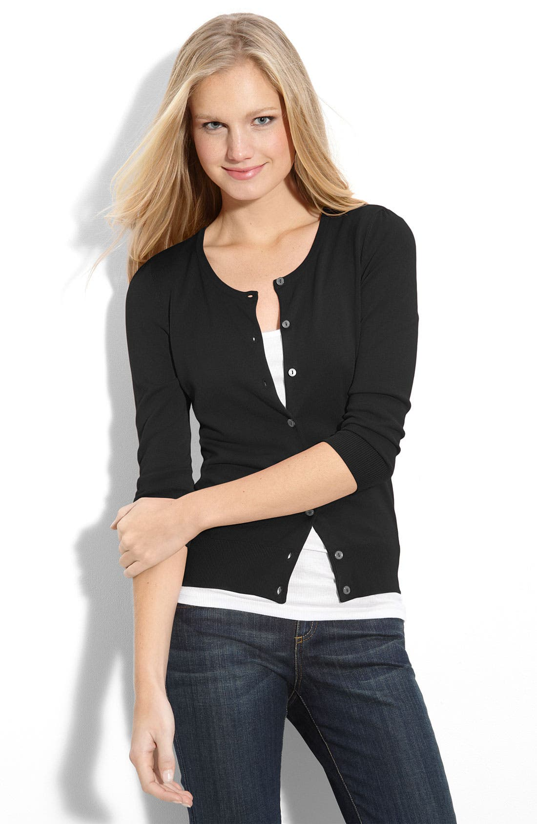 Crewneck Cardigan,                         Main,                         color, 001
