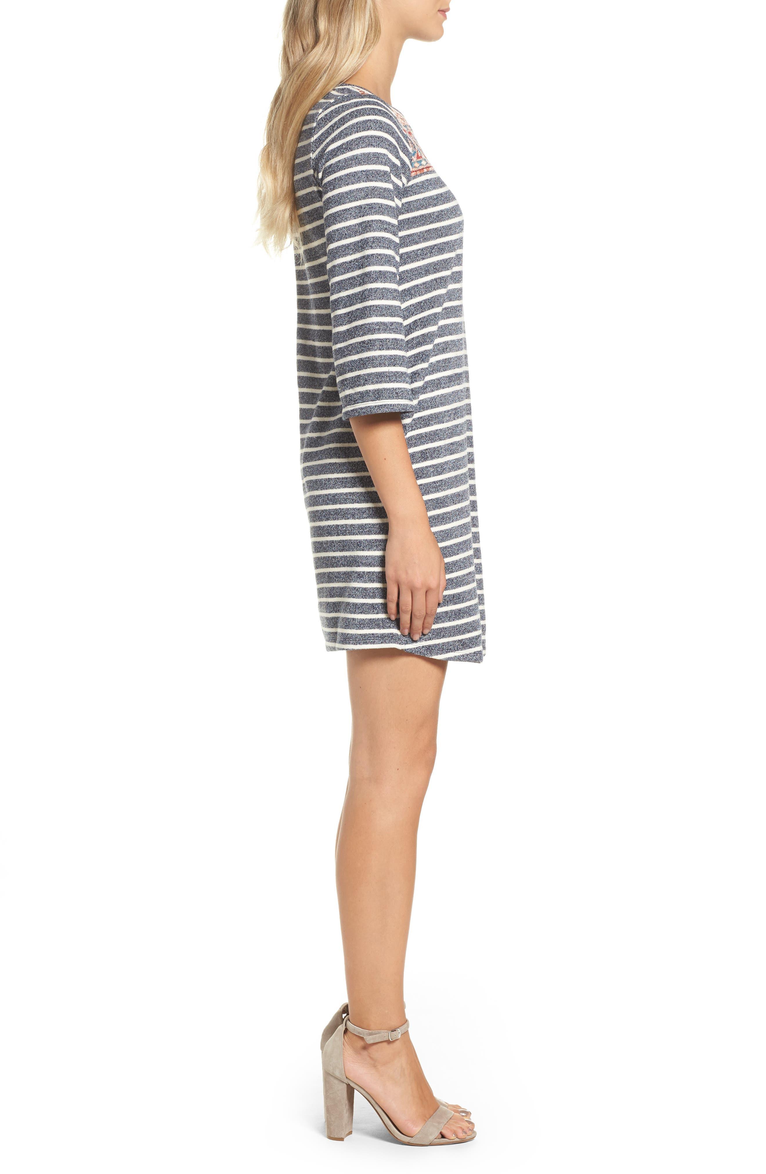 Stripe Shift Dress,                             Alternate thumbnail 3, color,