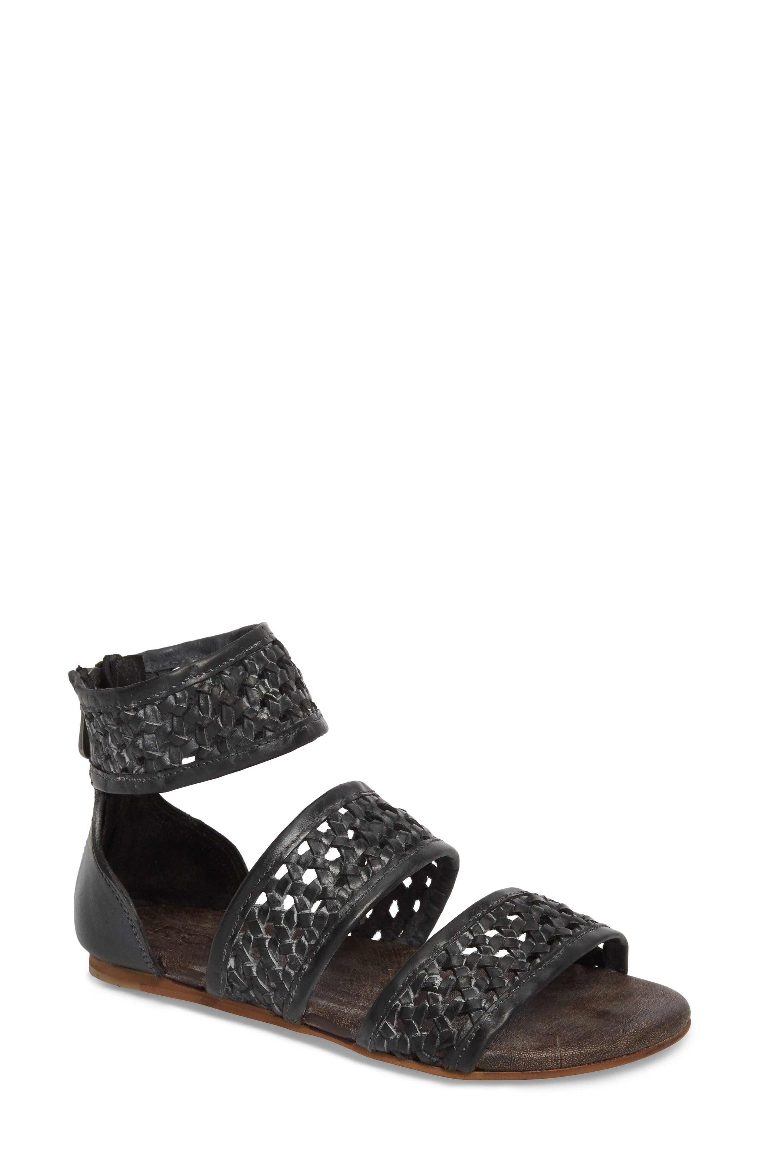 Clio Woven Ankle Cuff Sandal,                         Main,                         color, BLACK
