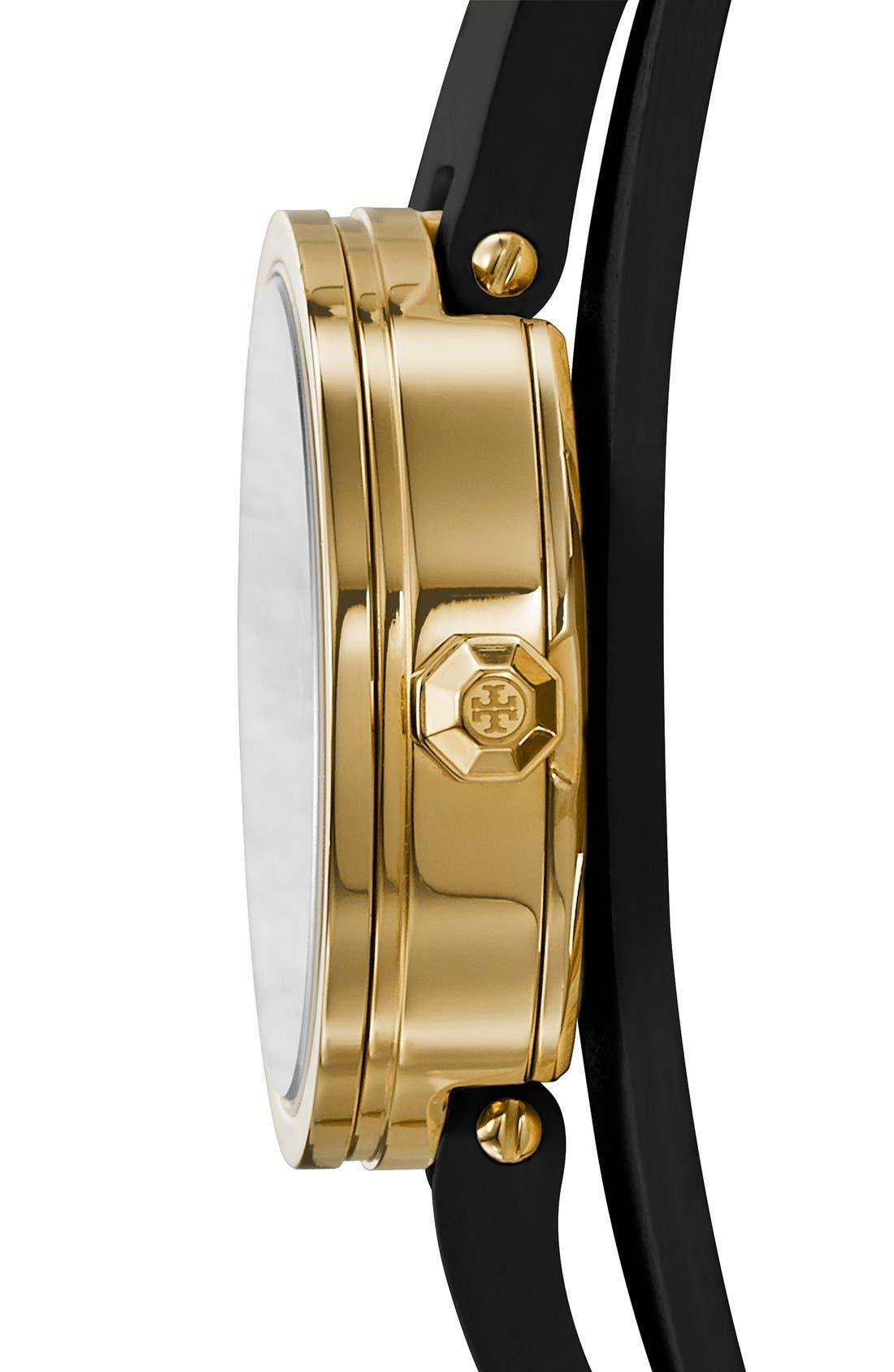'Reva' Logo Dial Double Wrap Leather Strap Watch, 28mm,                             Alternate thumbnail 2, color,                             001