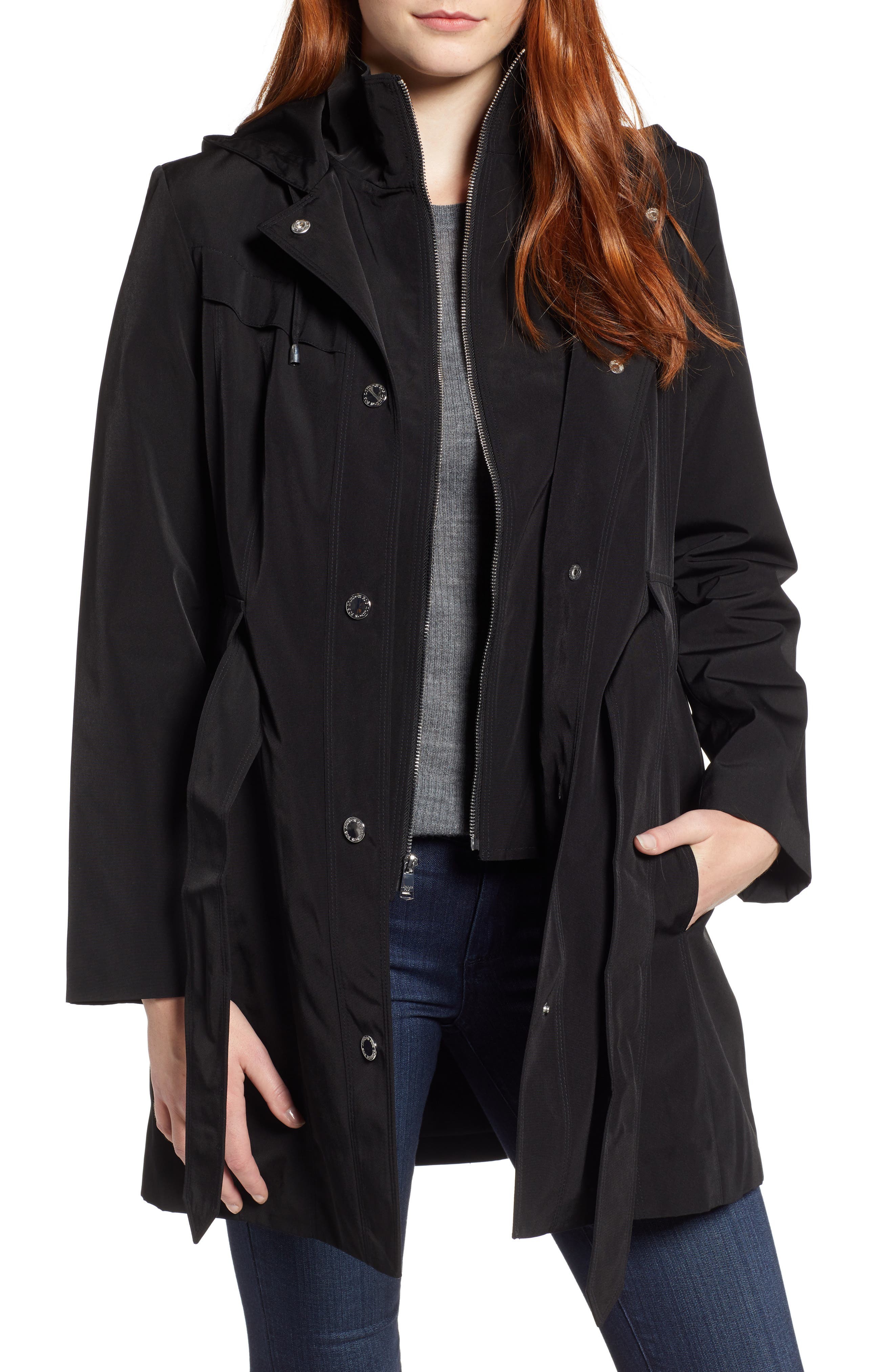 LONDON FOG,                             Hooded Trench Coat,                             Main thumbnail 1, color,                             001