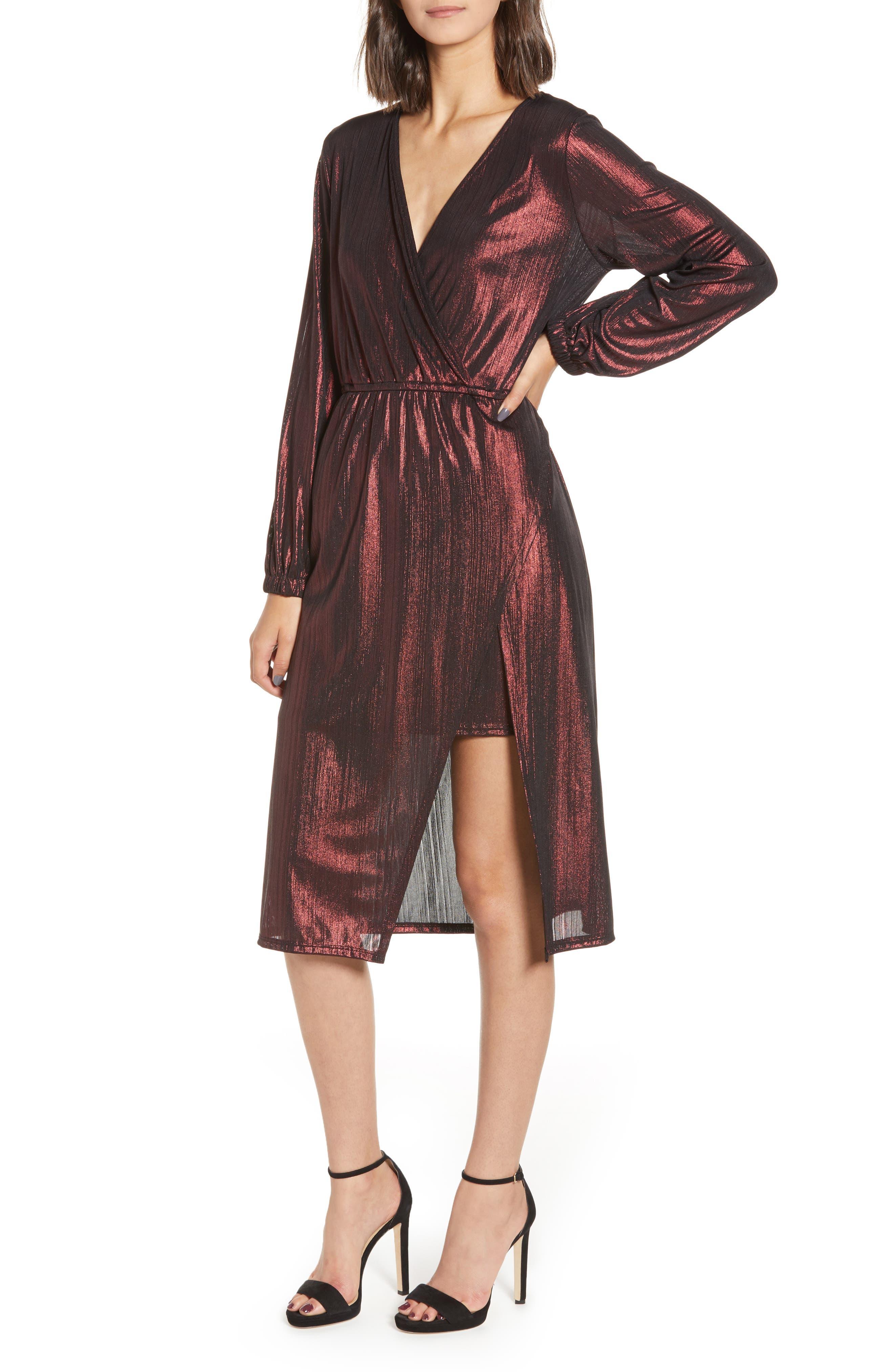 Leith Long Sleeve Deep V-Neck Midi Dress, Metallic