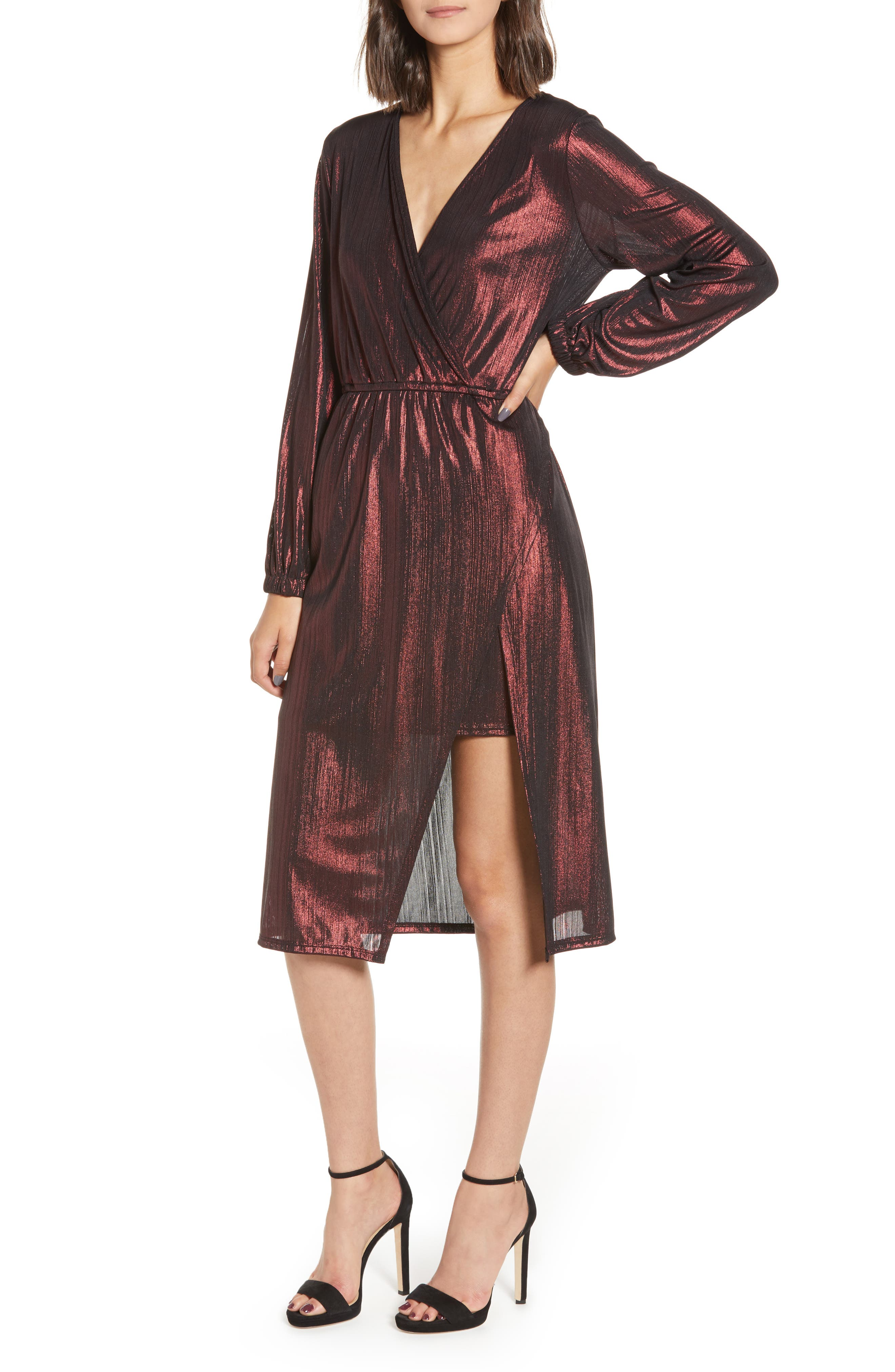 Long Sleeve Deep V-Neck Midi Dress,                         Main,                         color, ROSE GOLD