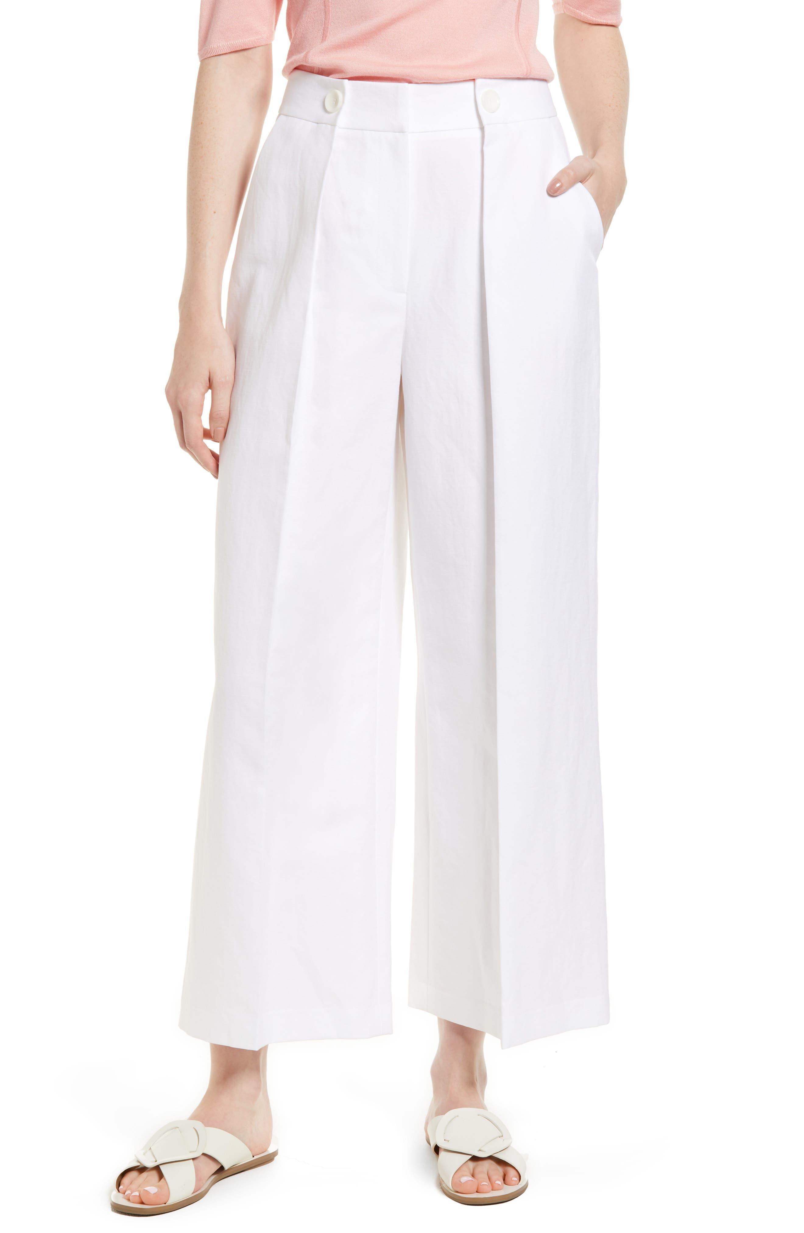 Pleated Wide Leg Linen & Cotton Pants,                         Main,                         color, 100