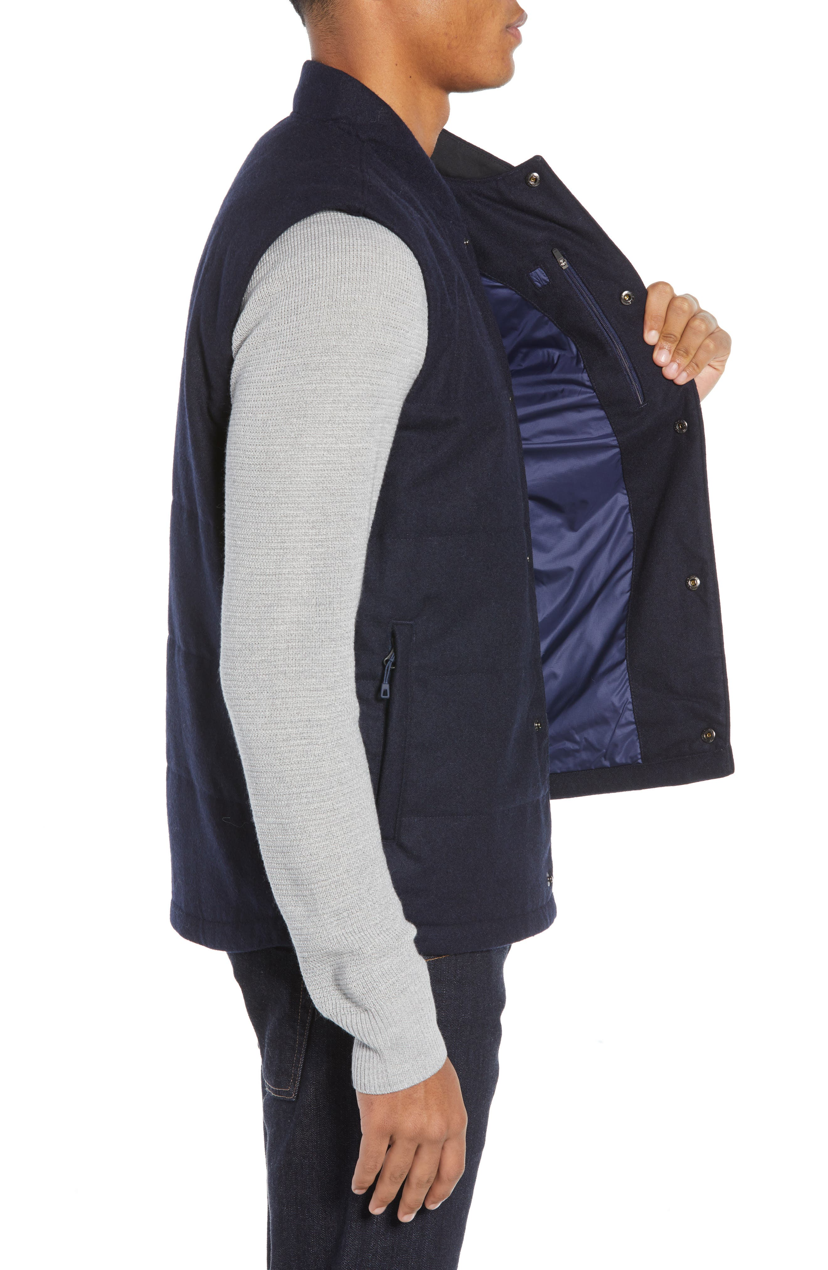 Recycled Woolyester Vest,                             Alternate thumbnail 3, color,                             CLASSIC NAVY