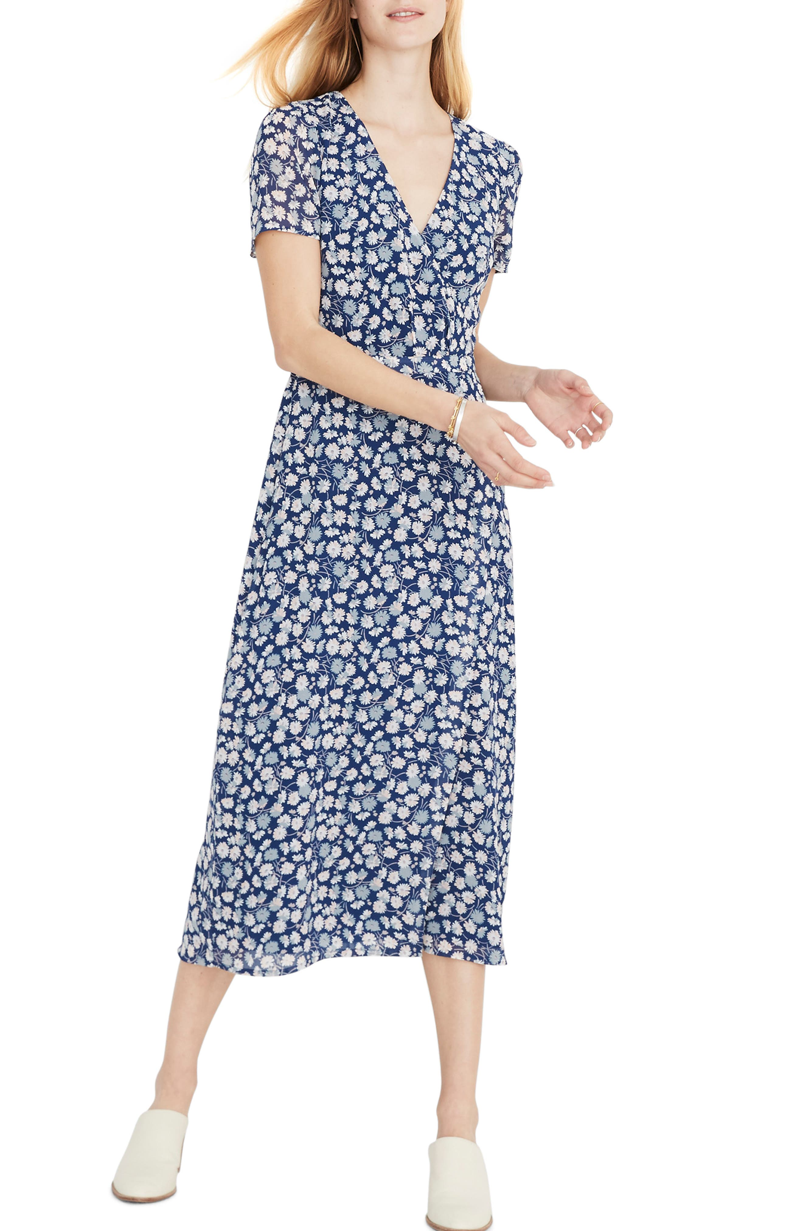 Madewell Floral Wrap Front Midi Dress, Blue