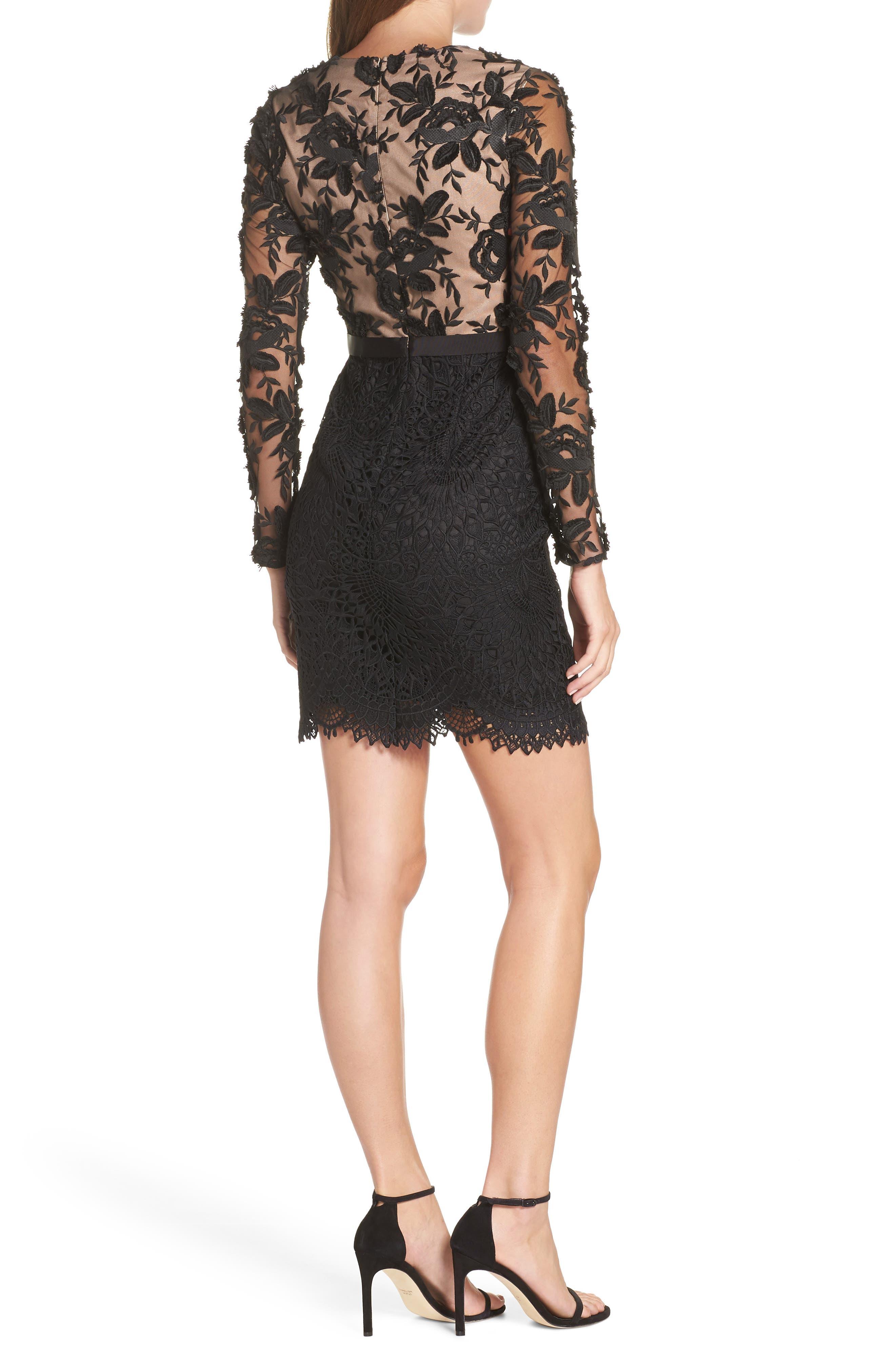 Calypso Lace Sheath Dress,                             Alternate thumbnail 2, color,                             BLACK/ NUDE