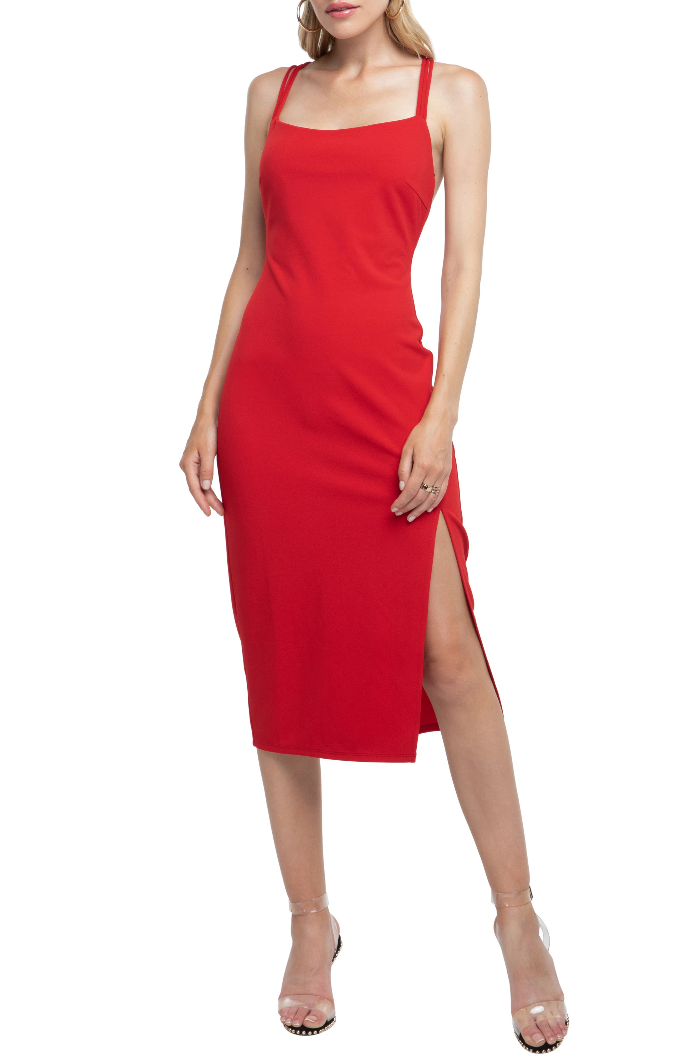 Strappy Back Sheath Dress,                             Main thumbnail 1, color,                             RED