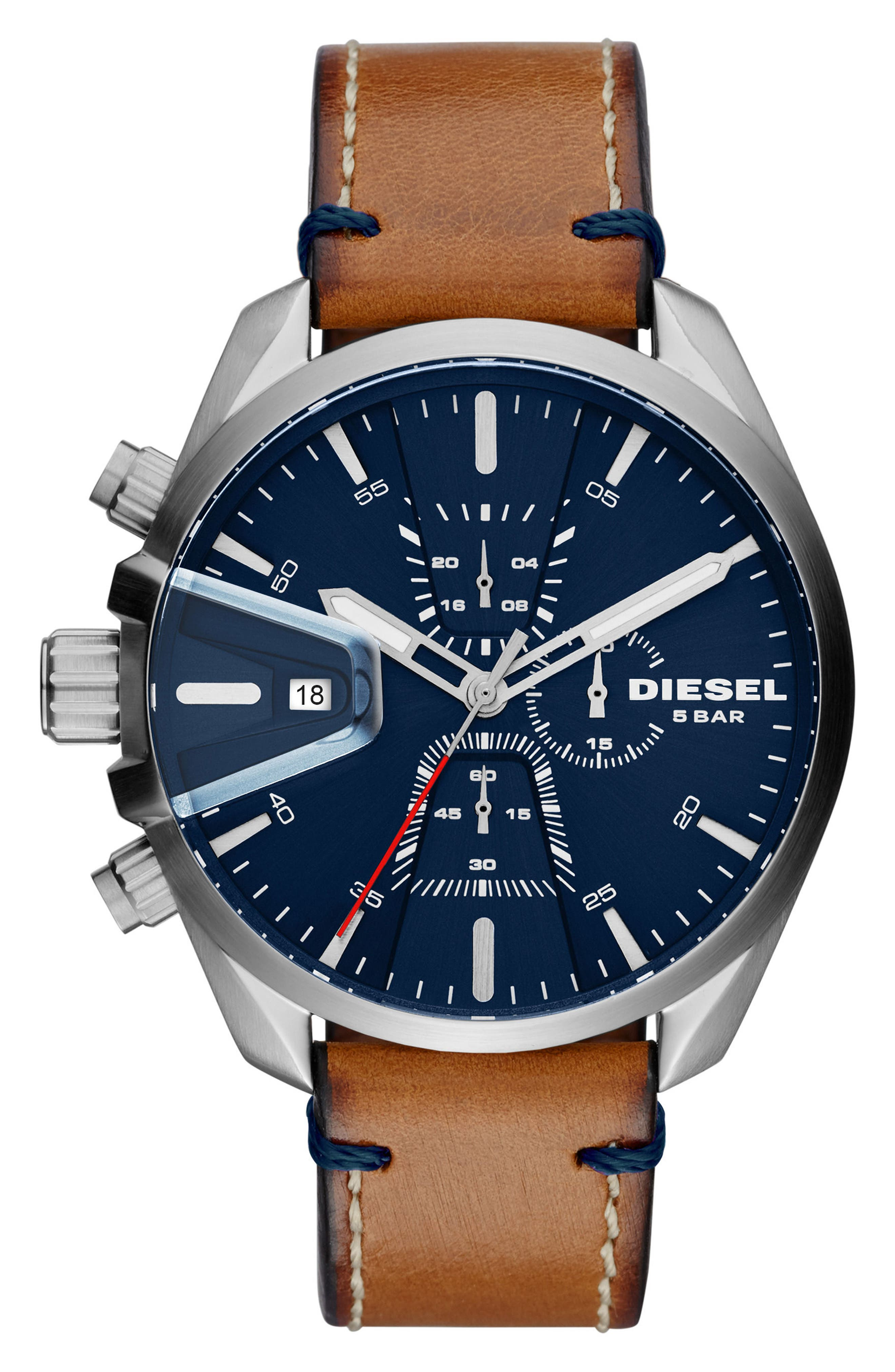 MS9 Chronograph Strap Watch, 47mm,                         Main,                         color, BLUE/ BROWN