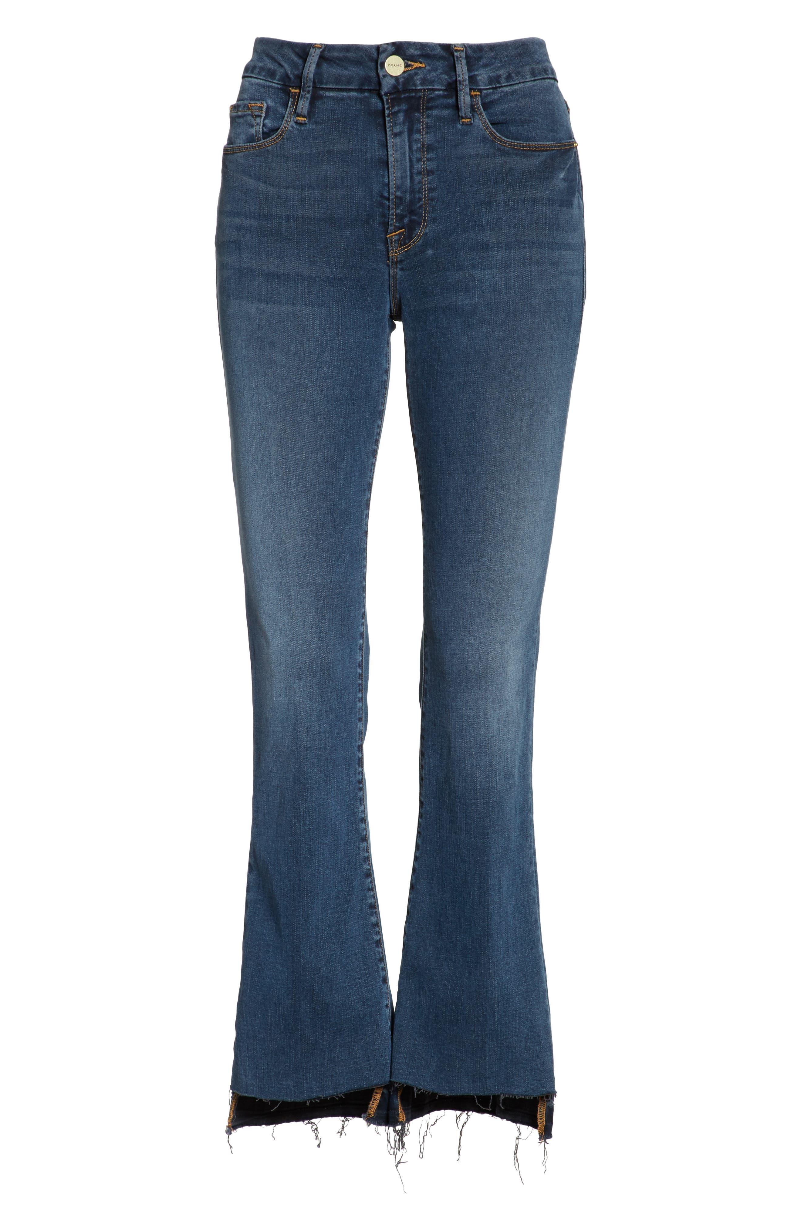 Le Crop Mini Boot Stagger Hem Jeans,                             Alternate thumbnail 6, color,                             420