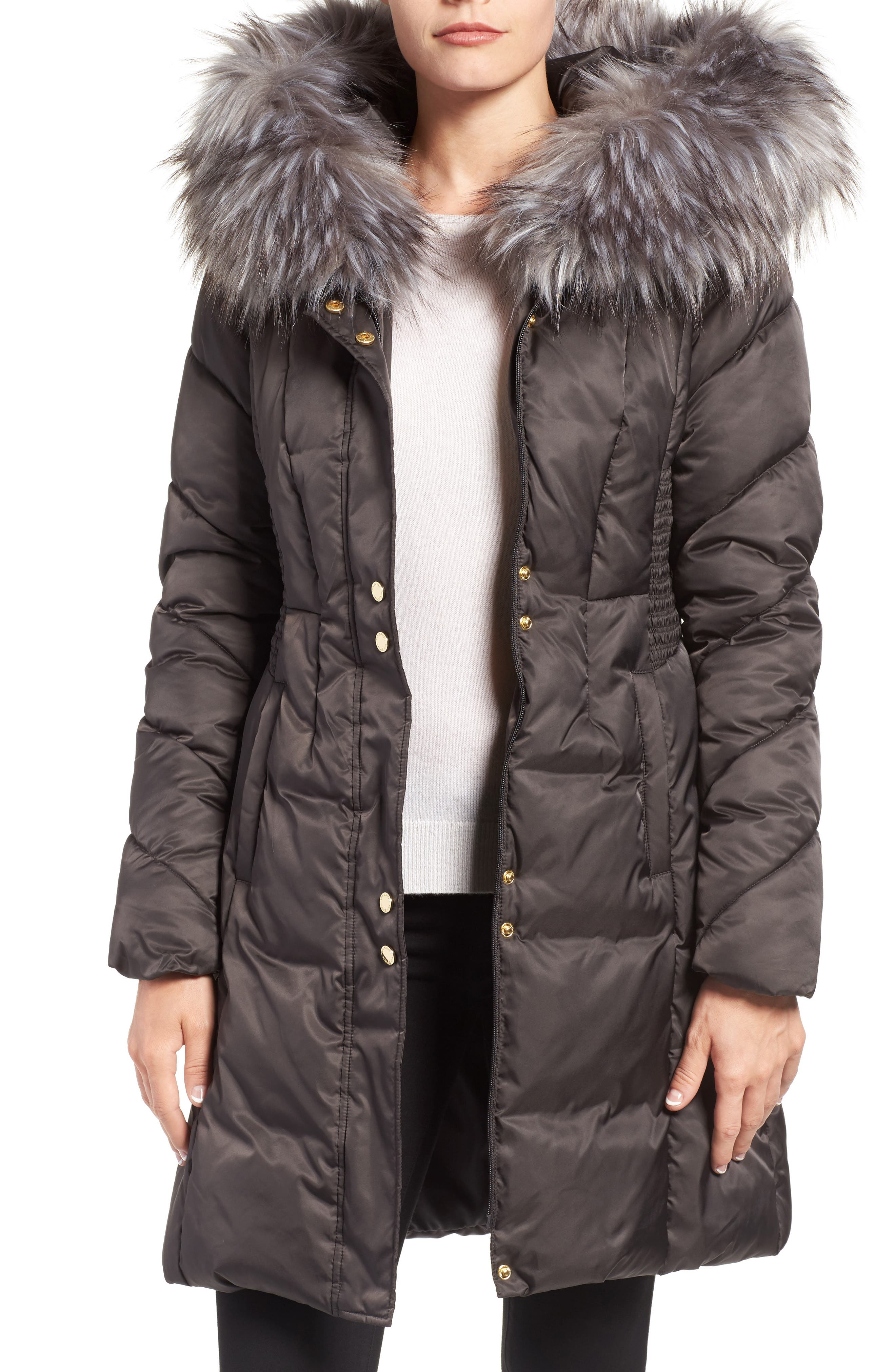 Water Repellent Quilted Puffer Coat with Faux Fur Trim,                         Main,                         color, 033