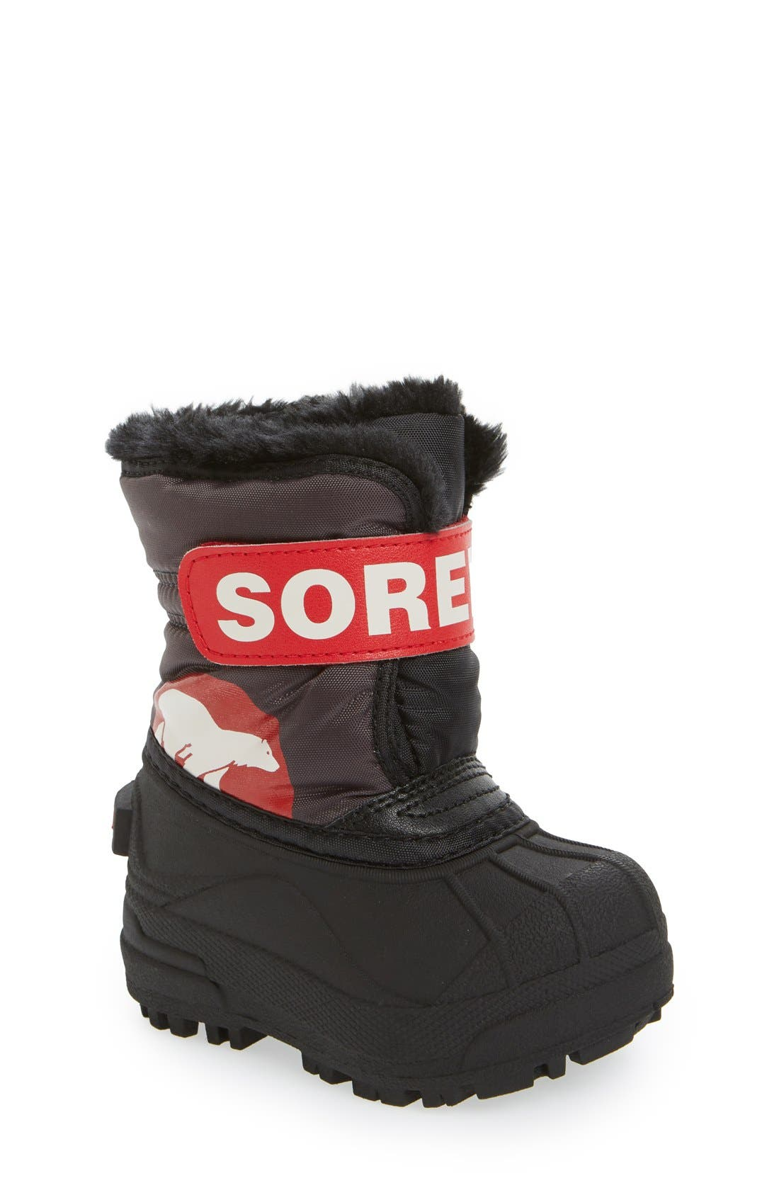 'Snow Commander' Boot,                         Main,                         color, DARK GREY/ BRIGHT RED