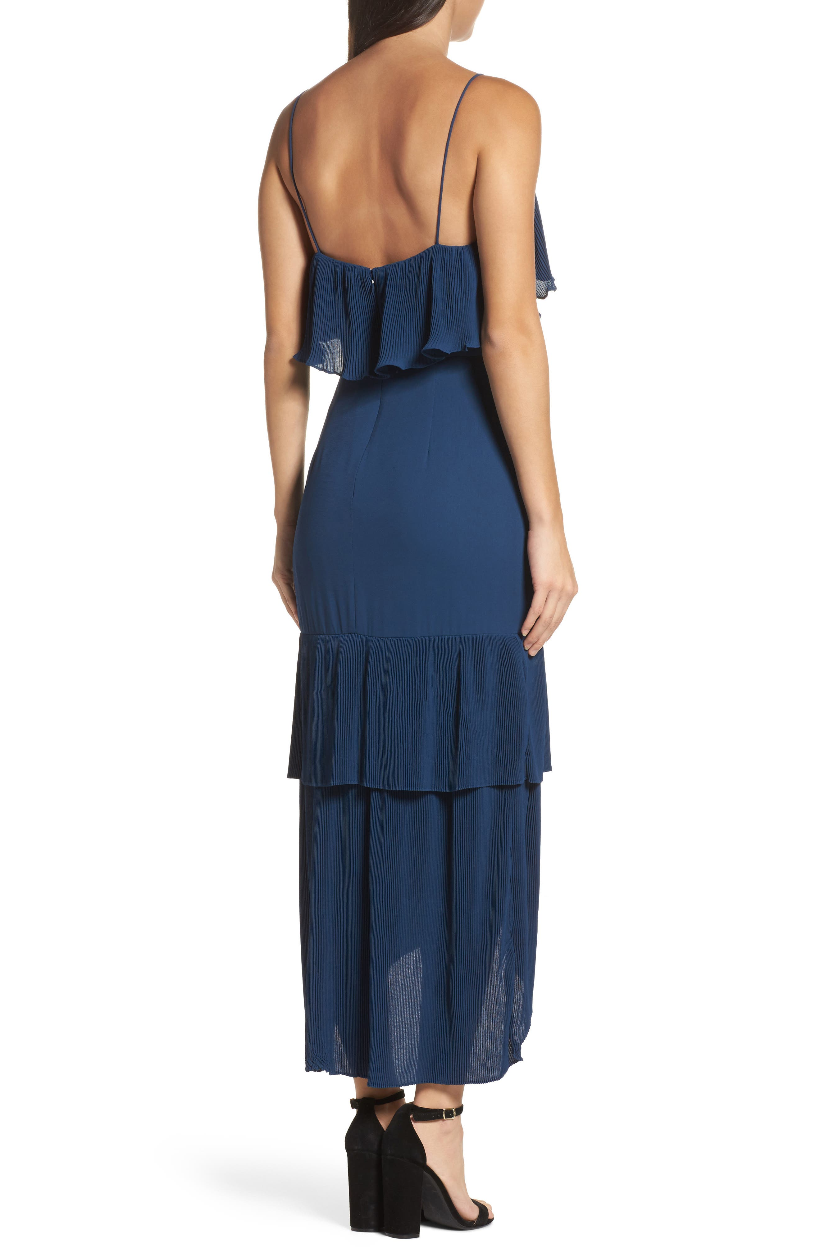 Kate Pleated Ruffle Midi Dress,                             Alternate thumbnail 2, color,                             415