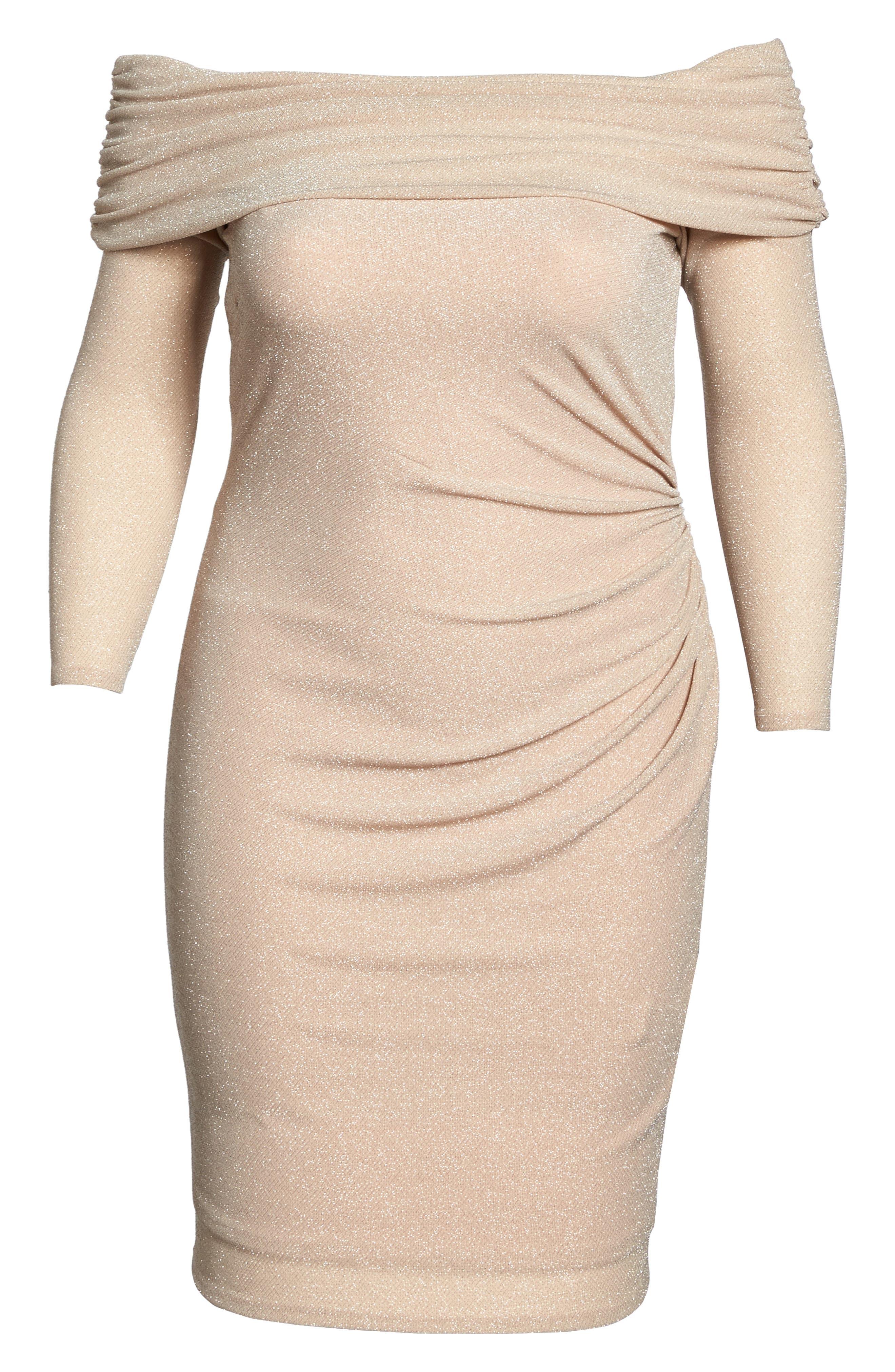 Off the Shoulder Metallic Knit Sheath Dress,                             Alternate thumbnail 6, color,                             684