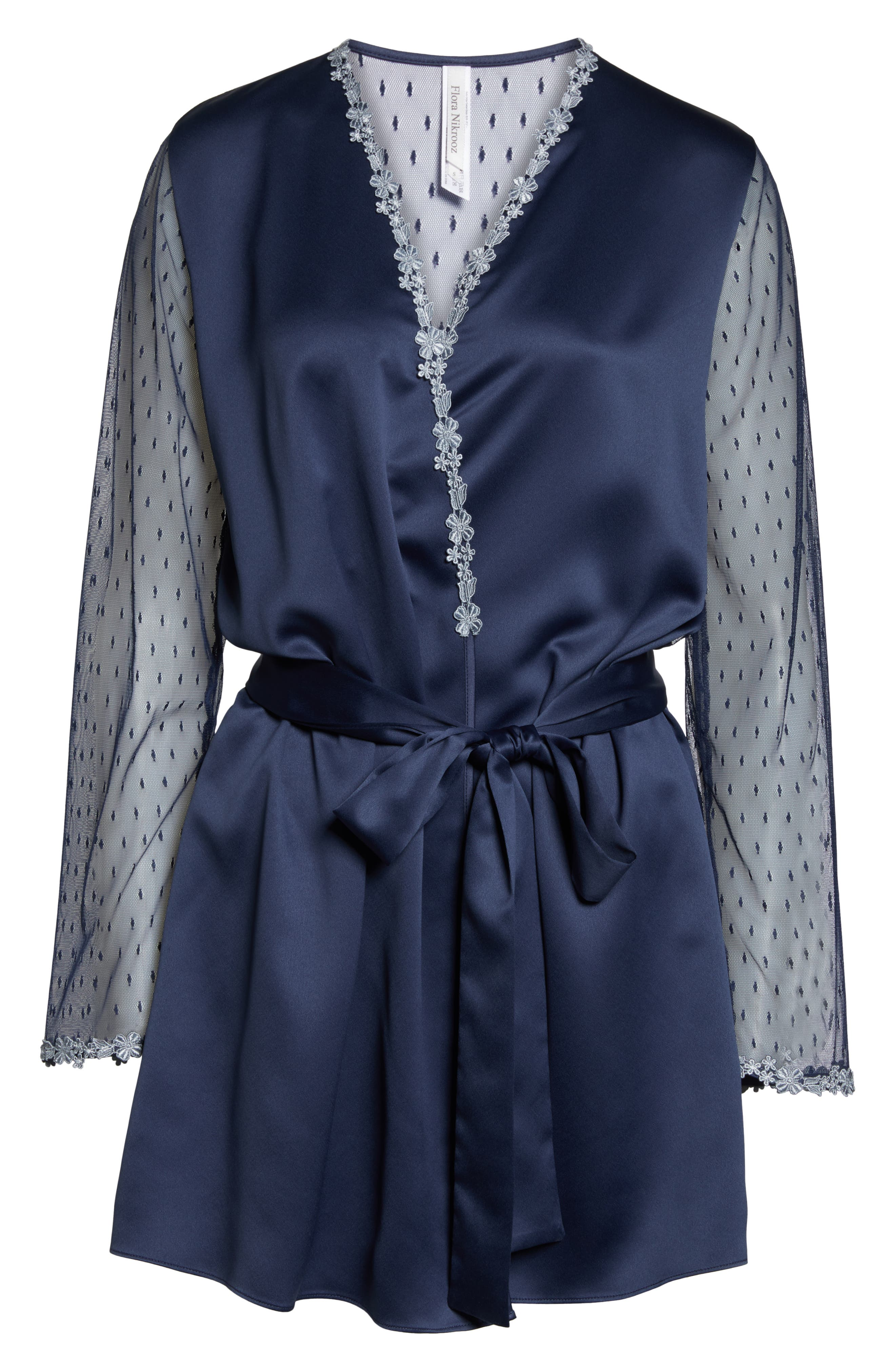 FLORA NIKROOZ,                             Showstopper Robe,                             Alternate thumbnail 6, color,                             NAVY