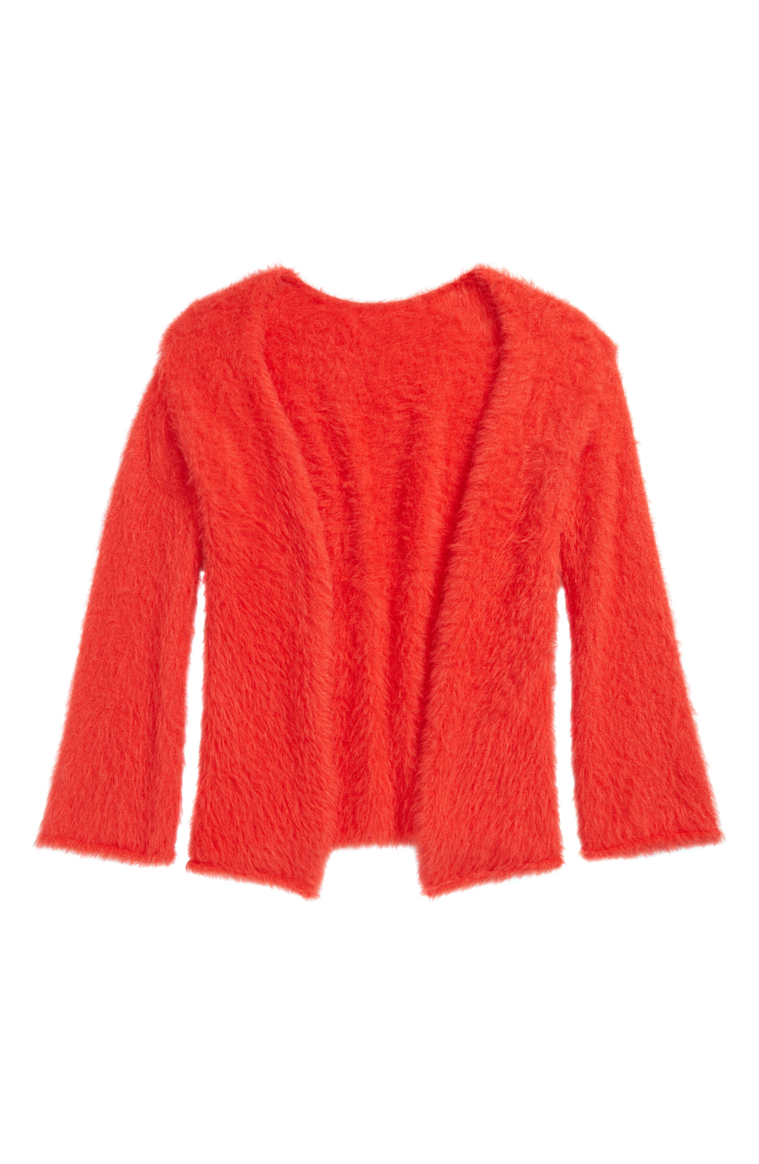 Fuzzy Cardigan,                             Main thumbnail 1, color,                             RED TOMATO