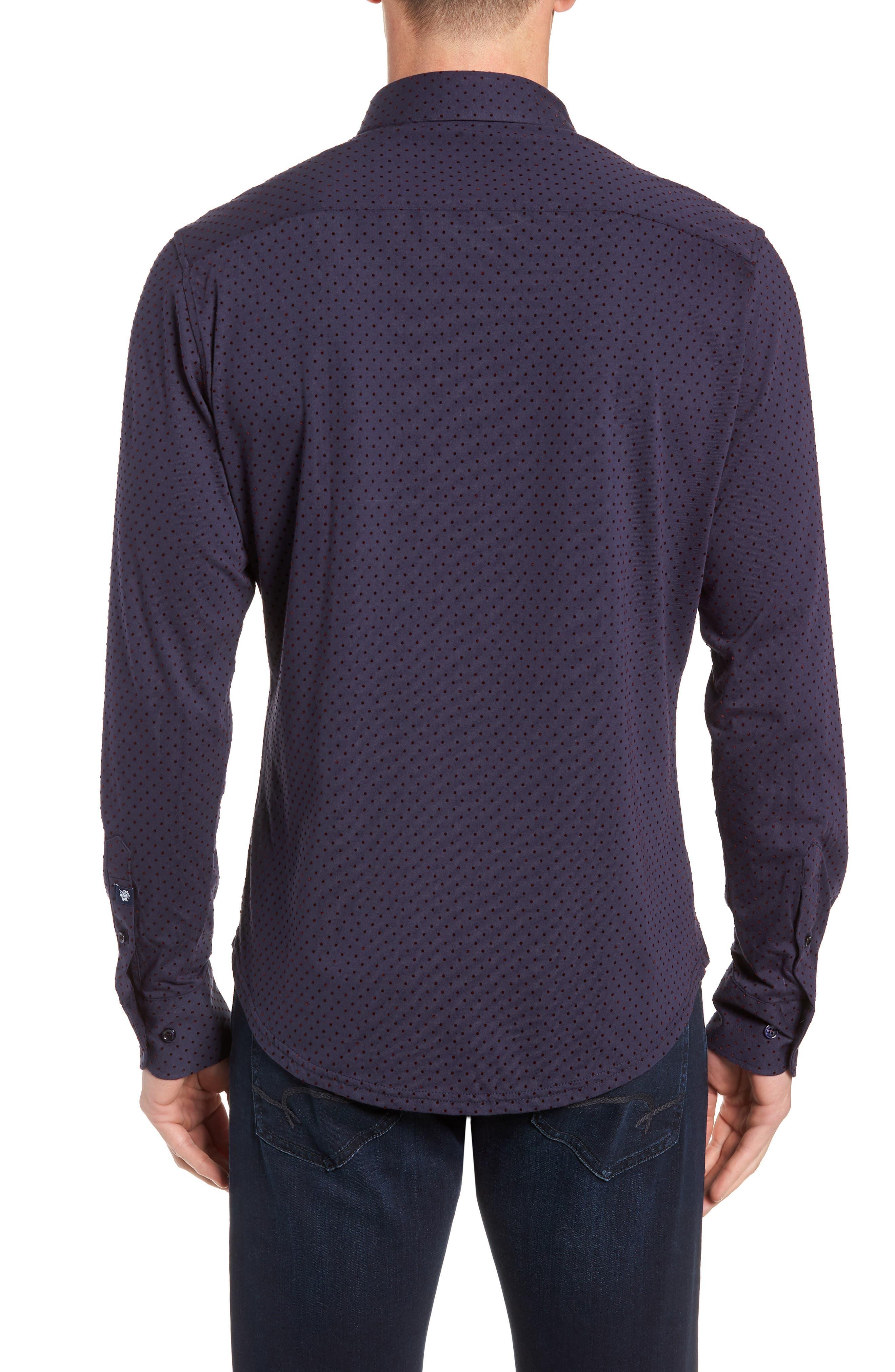 STONE ROSE,                             Regular Fit Knit Sport Shirt,                             Alternate thumbnail 3, color,                             NAVY