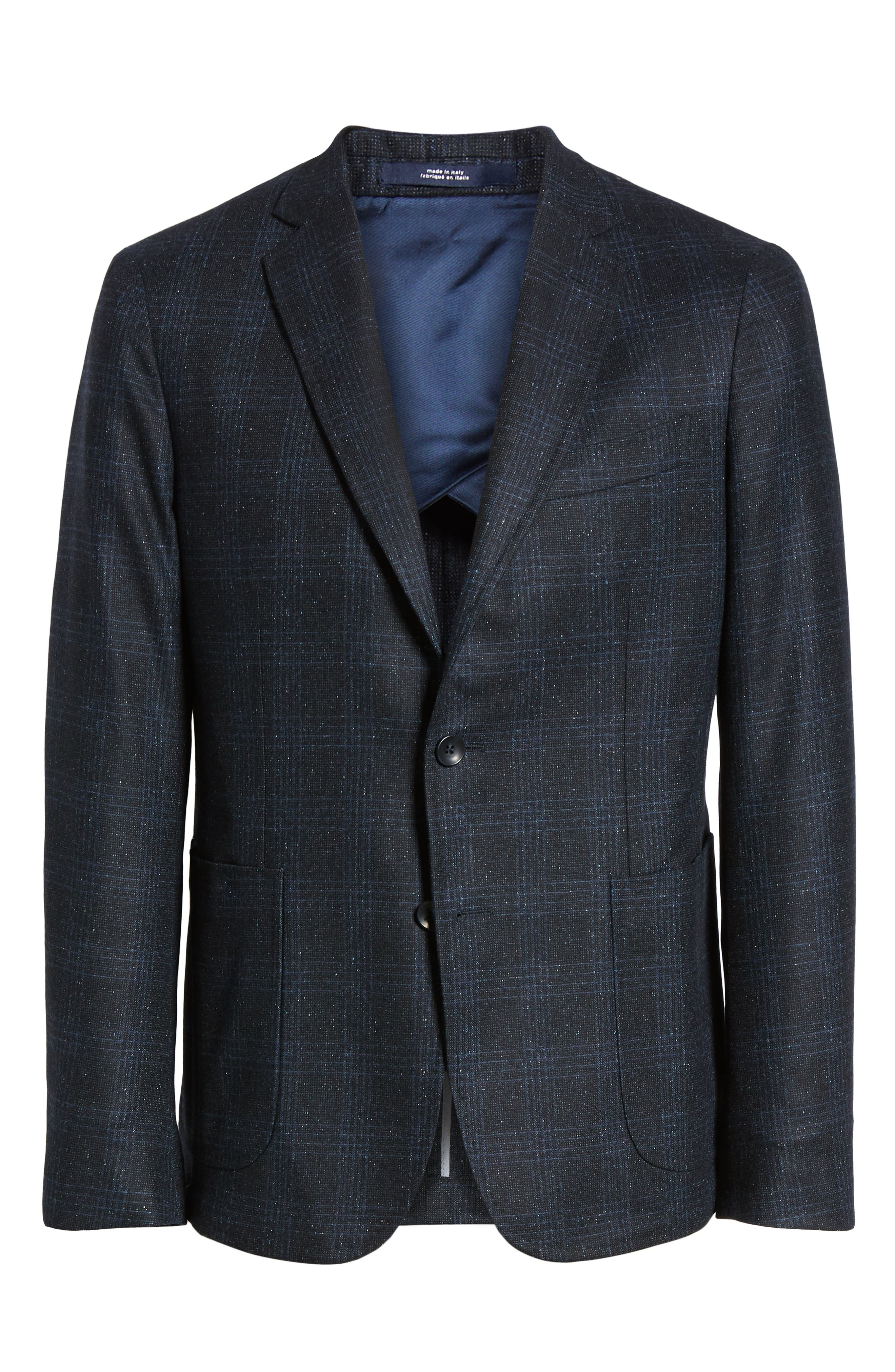 Extra Trim Fit Donegal Plaid Soft Coat,                             Alternate thumbnail 5, color,                             NAVY