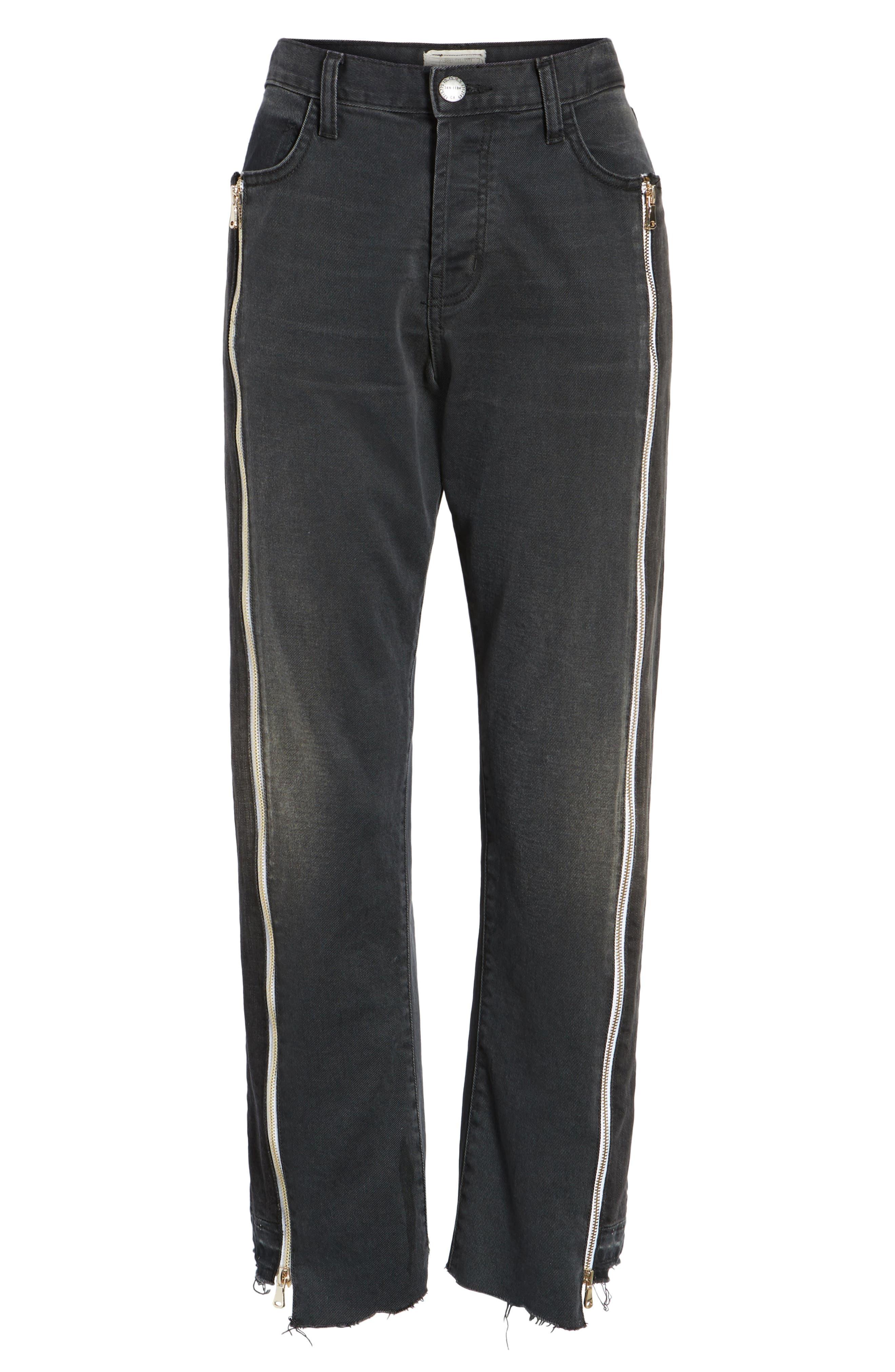 The Dallon Zip High Waist Crop Straight Jeans,                             Alternate thumbnail 6, color,                             405