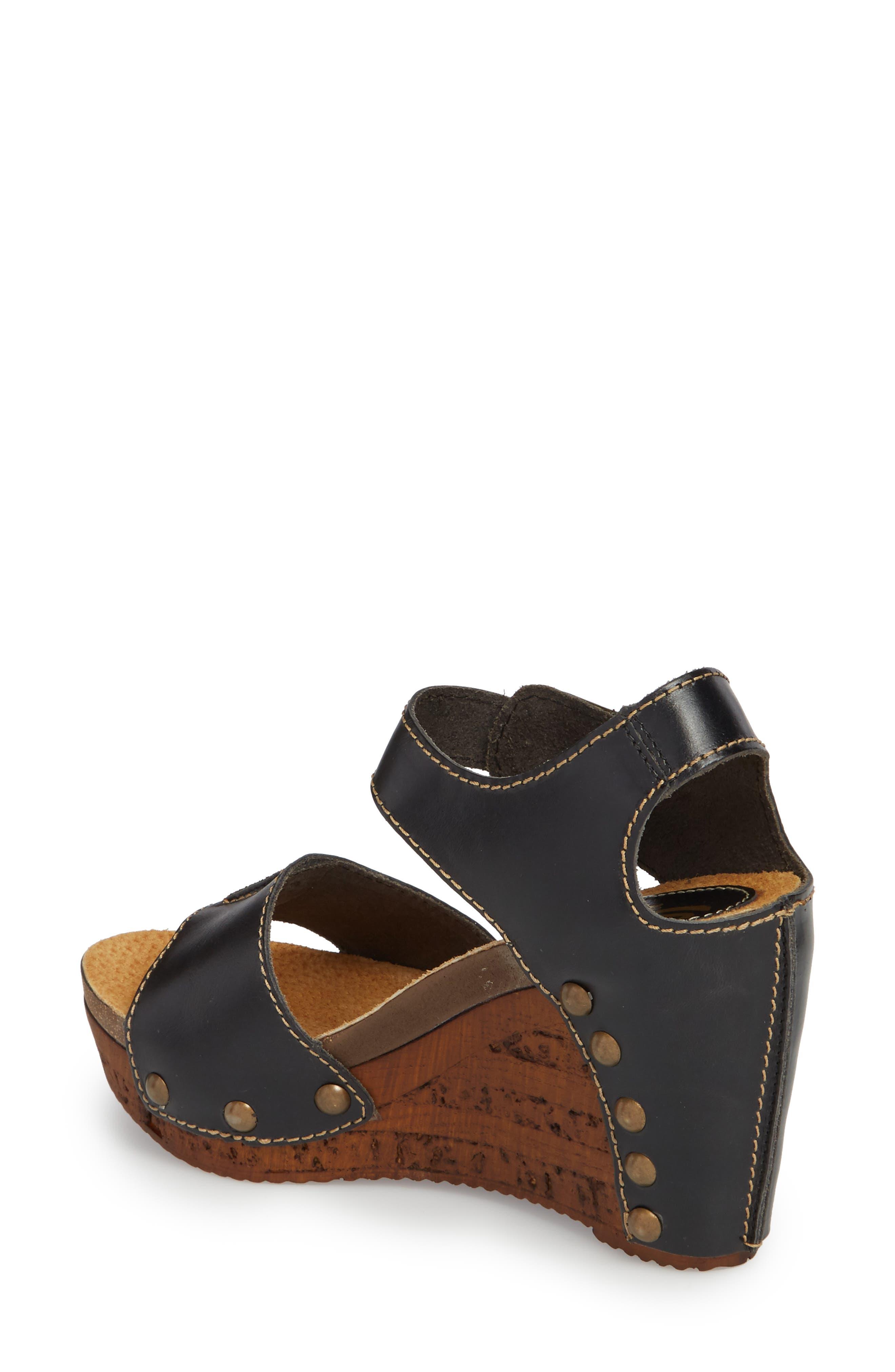 Brella Studded Platform Wedge Sandal,                             Alternate thumbnail 2, color,                             BLACK