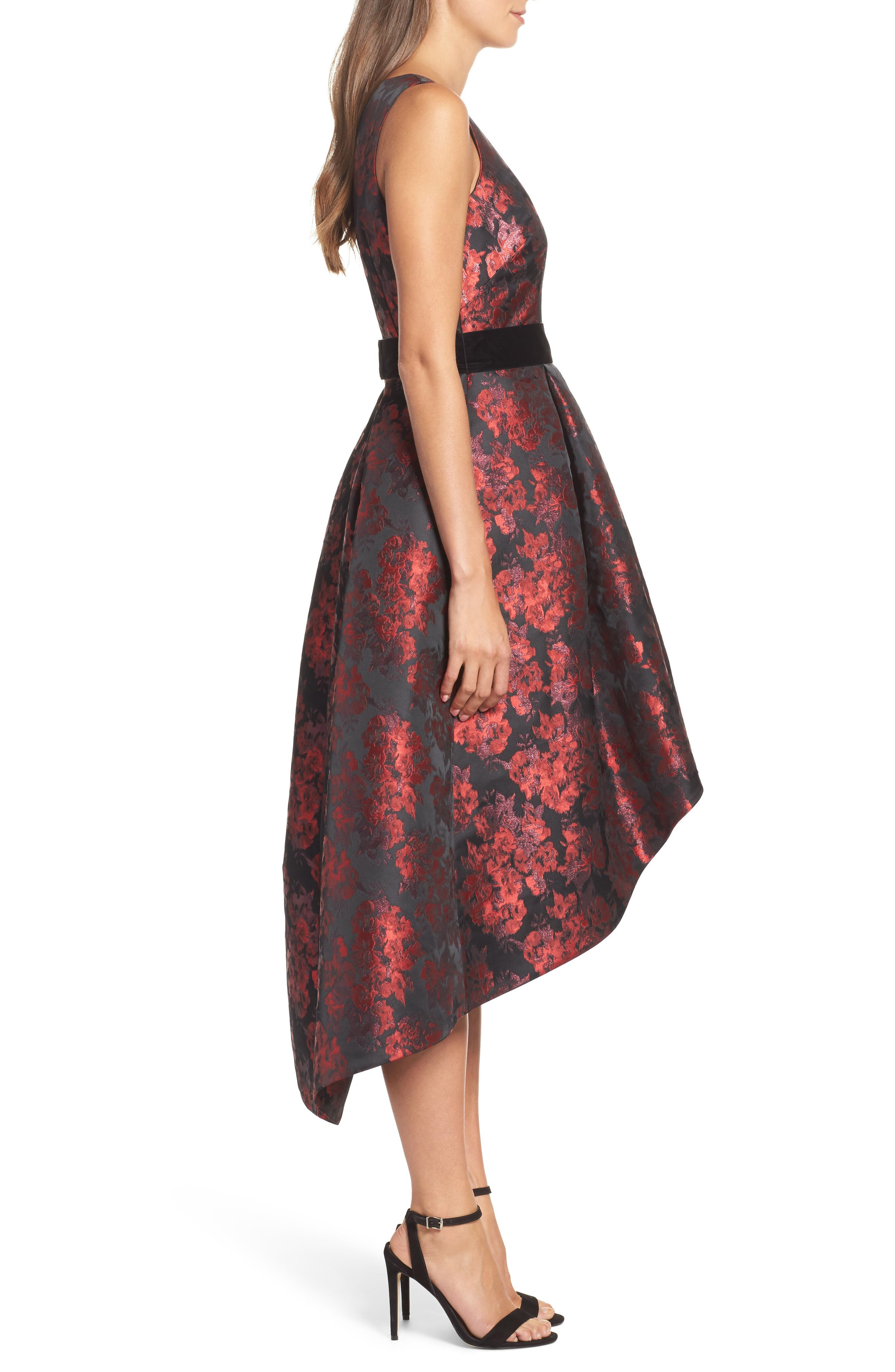 Jacquard High/Low Dress,                             Alternate thumbnail 3, color,