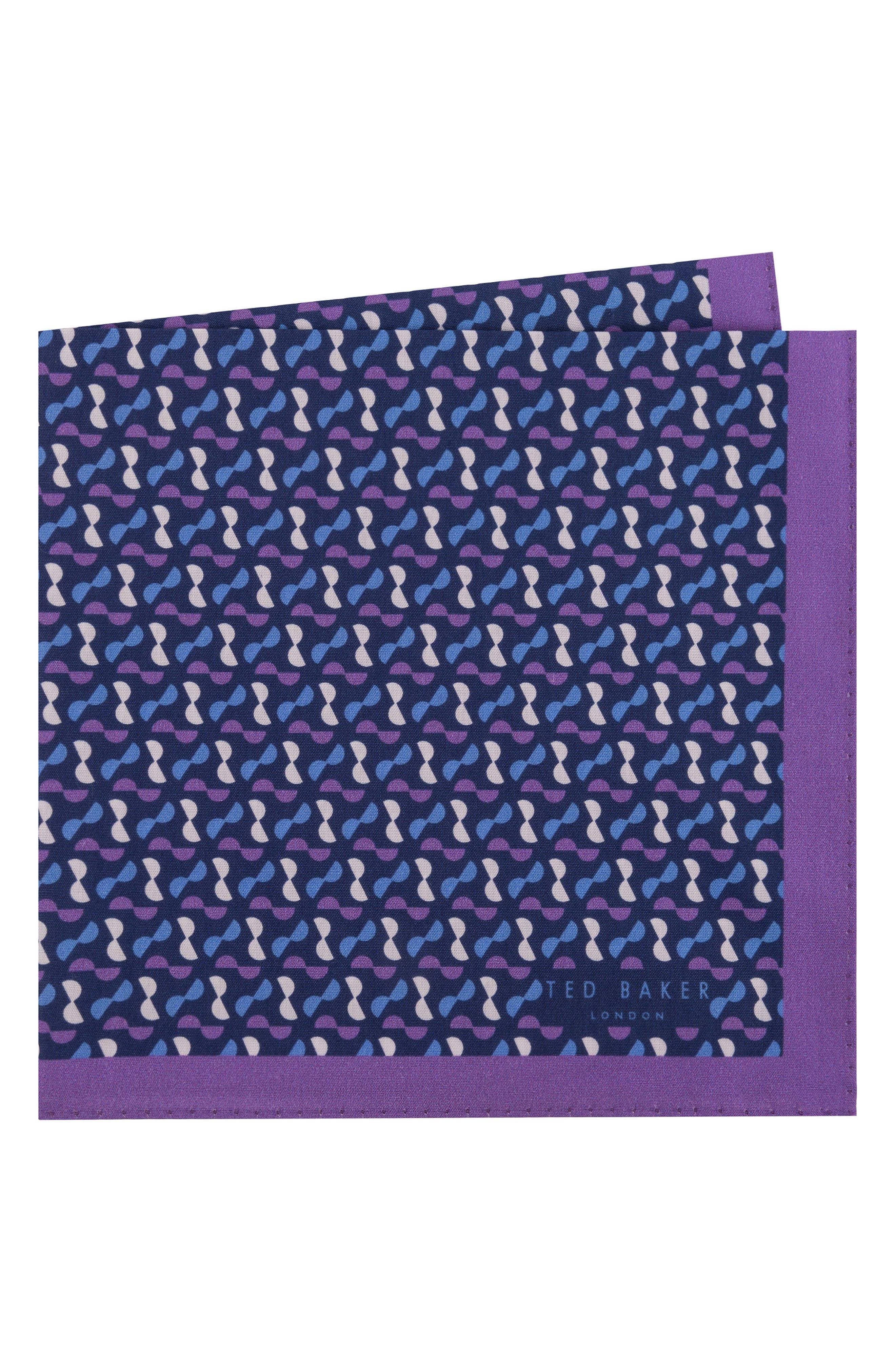 Geometric Cotton Pocket Square,                         Main,                         color, 500
