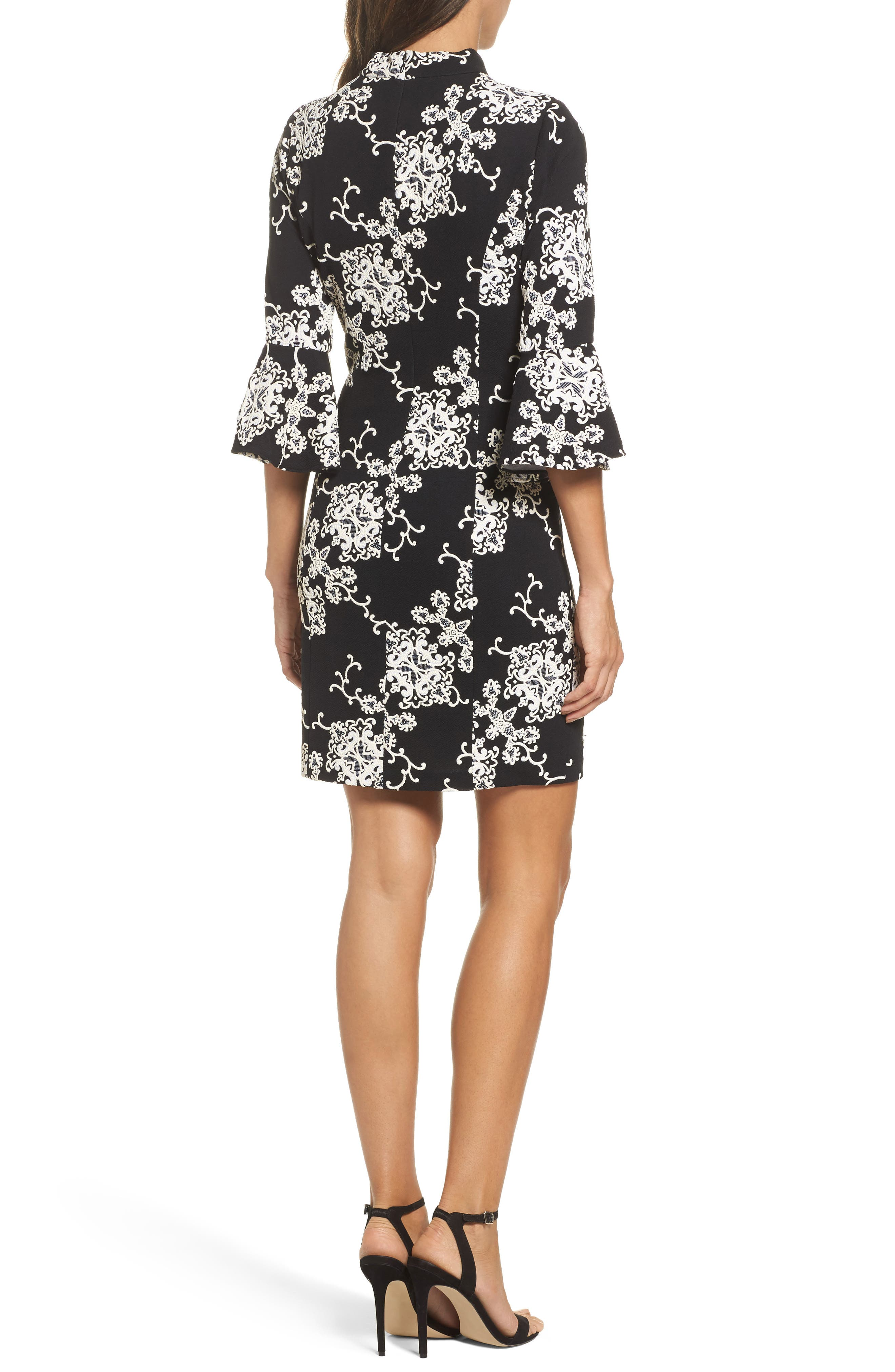 Flare Sleeve Sheath Dress,                             Alternate thumbnail 2, color,                             016