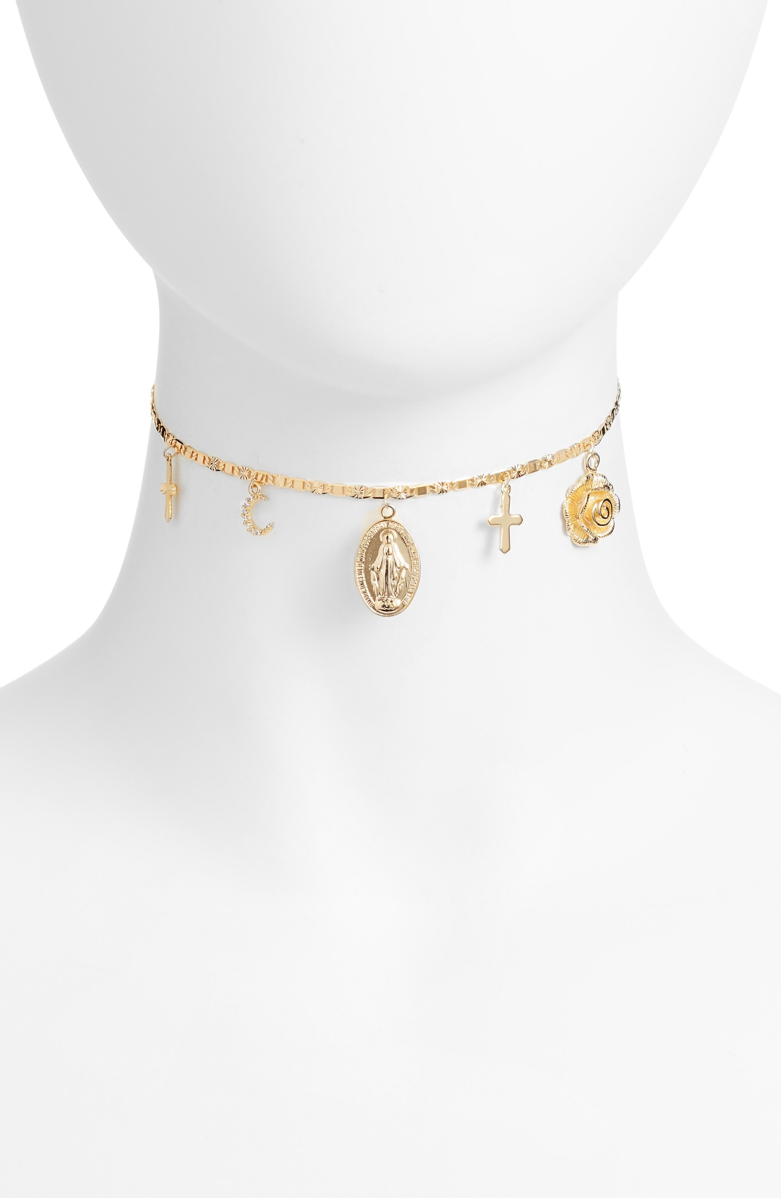 Alejandra Charm Choker Necklace,                             Main thumbnail 1, color,                             710