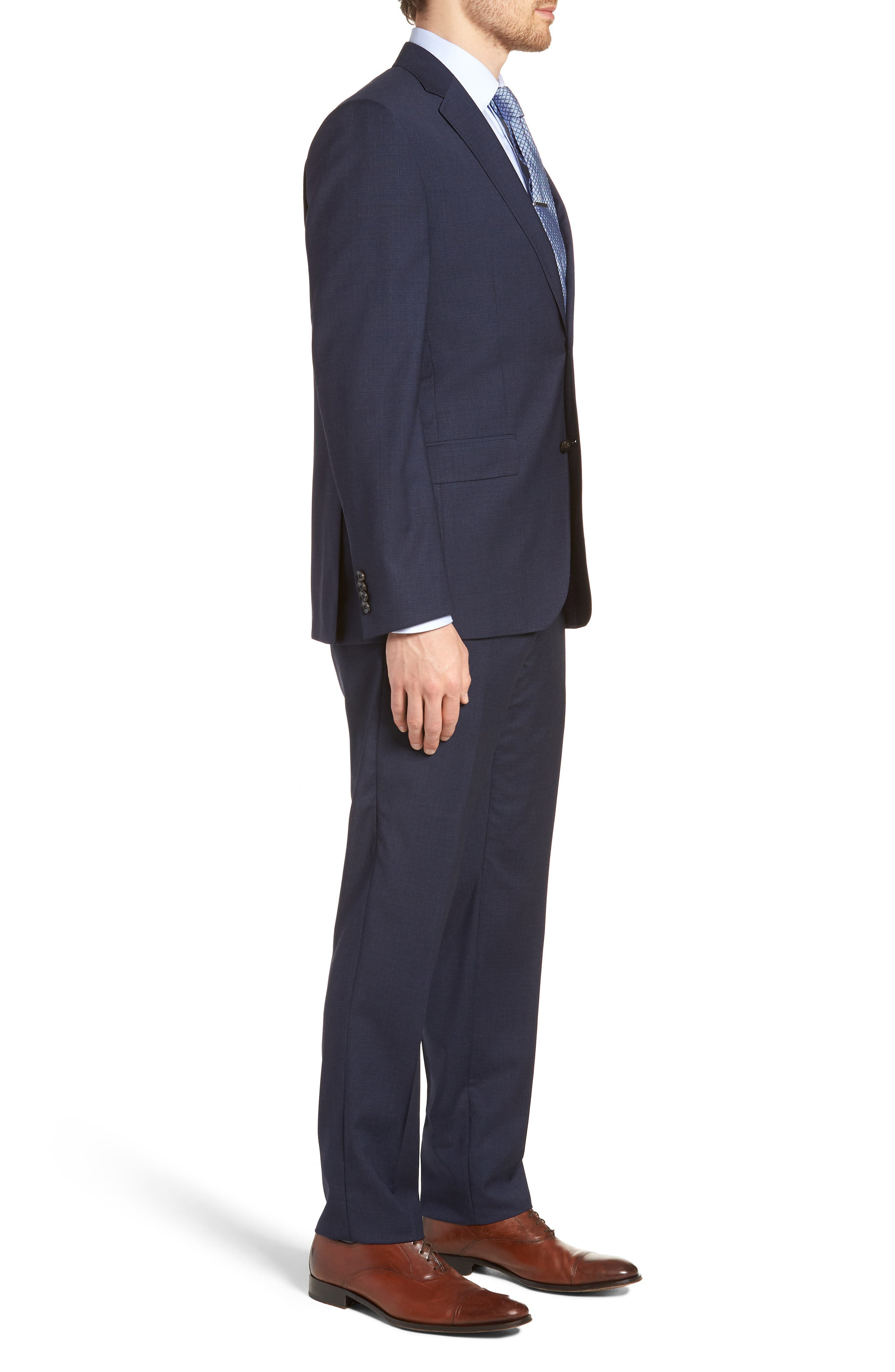 Jay Trim Fit Solid Wool Suit,                             Alternate thumbnail 3, color,                             BLUE