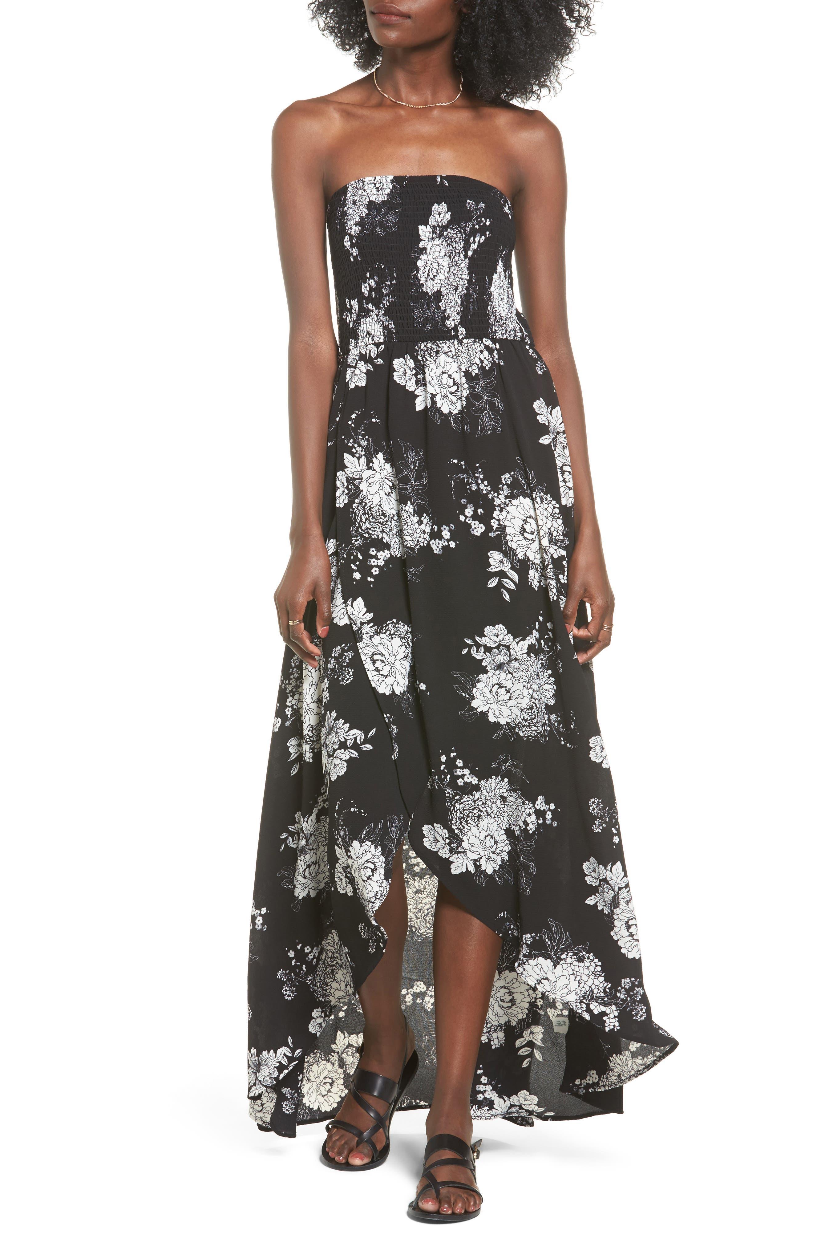 Smocked Strapless Maxi Dress,                             Main thumbnail 1, color,                             001