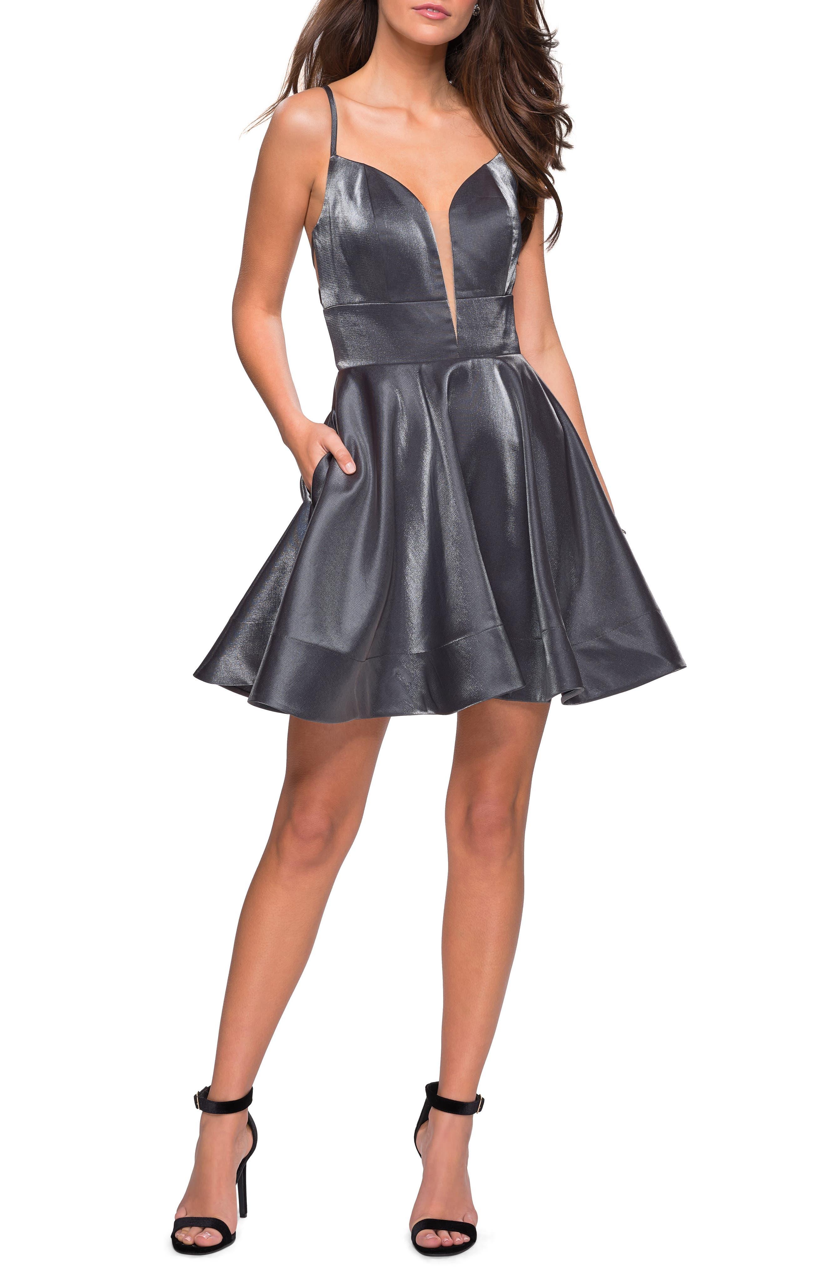 La Femme Satin Fit & Flare Dress, Grey